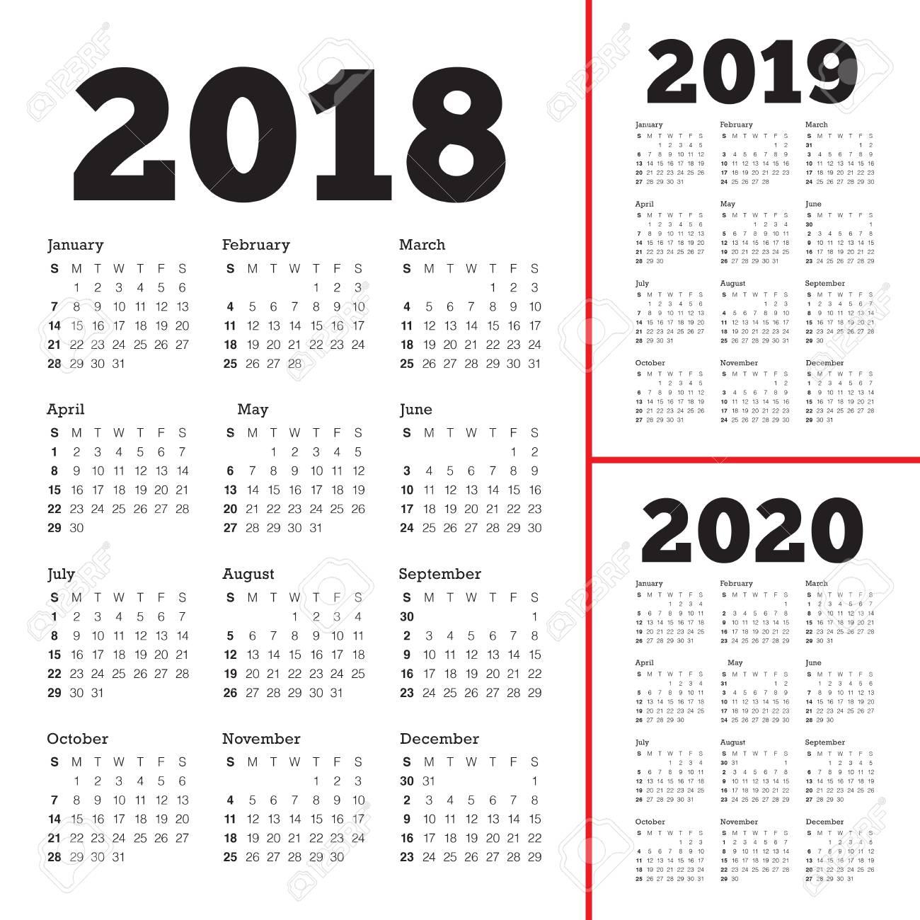 Vector De Calendario 2020.Year 2018 2019 2020 Calendar Vector Design Template Simple And