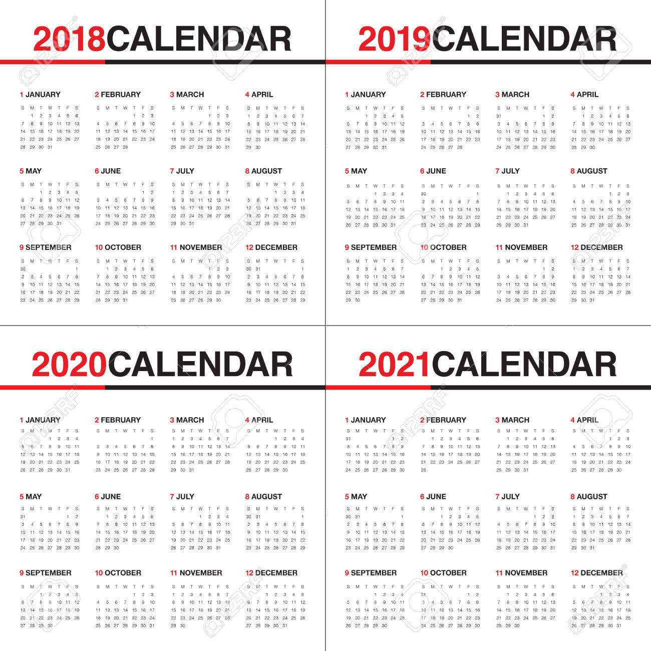 Calendrier 2018 2021 Année 2018 2019 2020 2021 Calendrier Modèle De Conception De