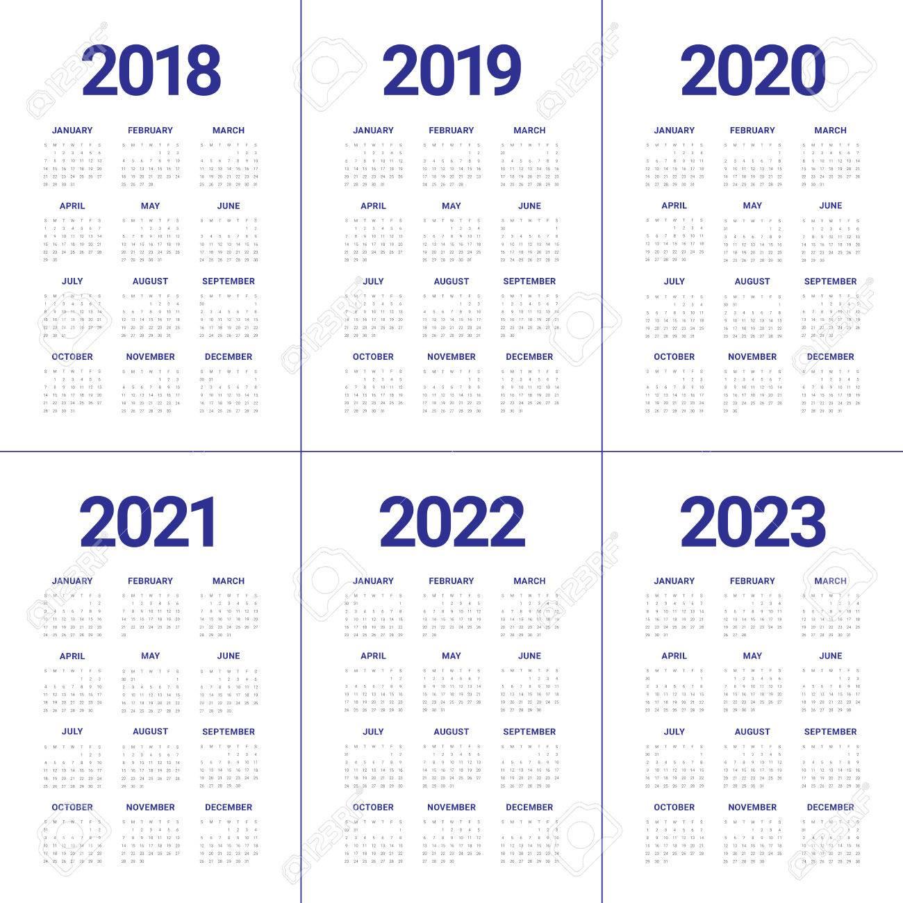 2018 Calendrier 2022 Year 2018 2019 2020 2021 2022 2023 Calendar Vector Design Template