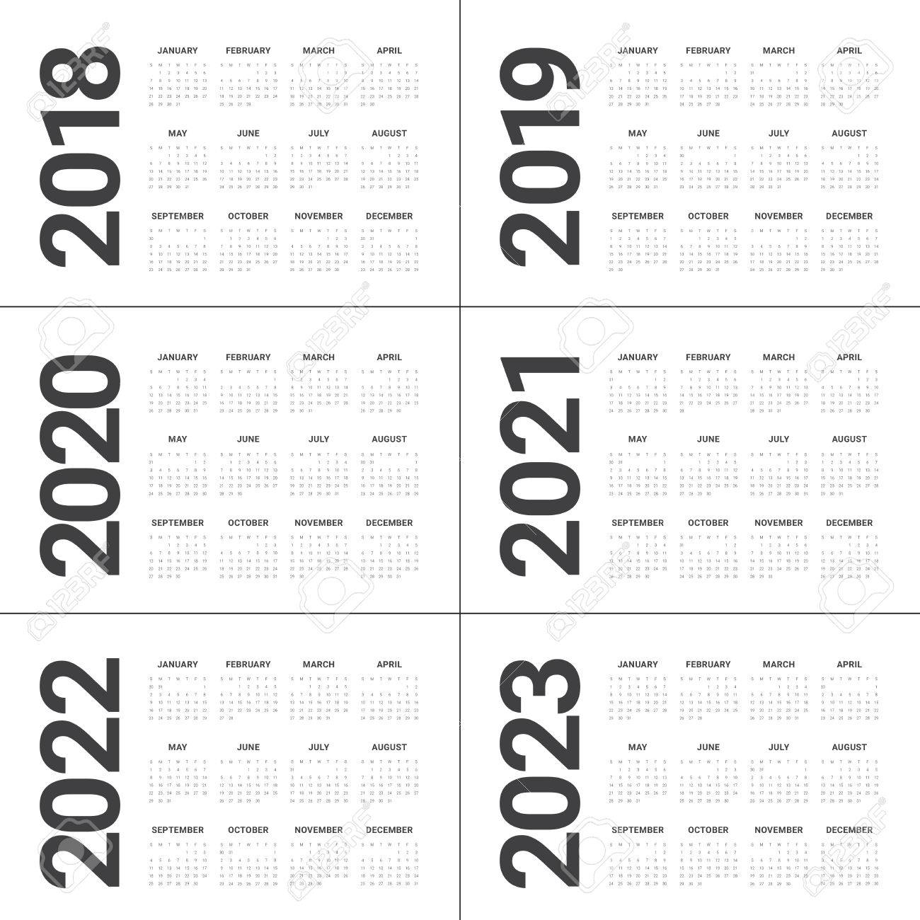 Calendario 2020 Vector Gratis.Year 2018 2019 2020 2021 2022 2023 Calendar Vector Design Template