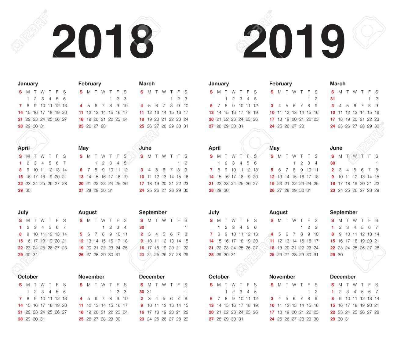 Calendario 2018 2019.Ano 2018 2019 Plantilla De Diseno Vectorial Calendario Diseno Simple Y Limpio