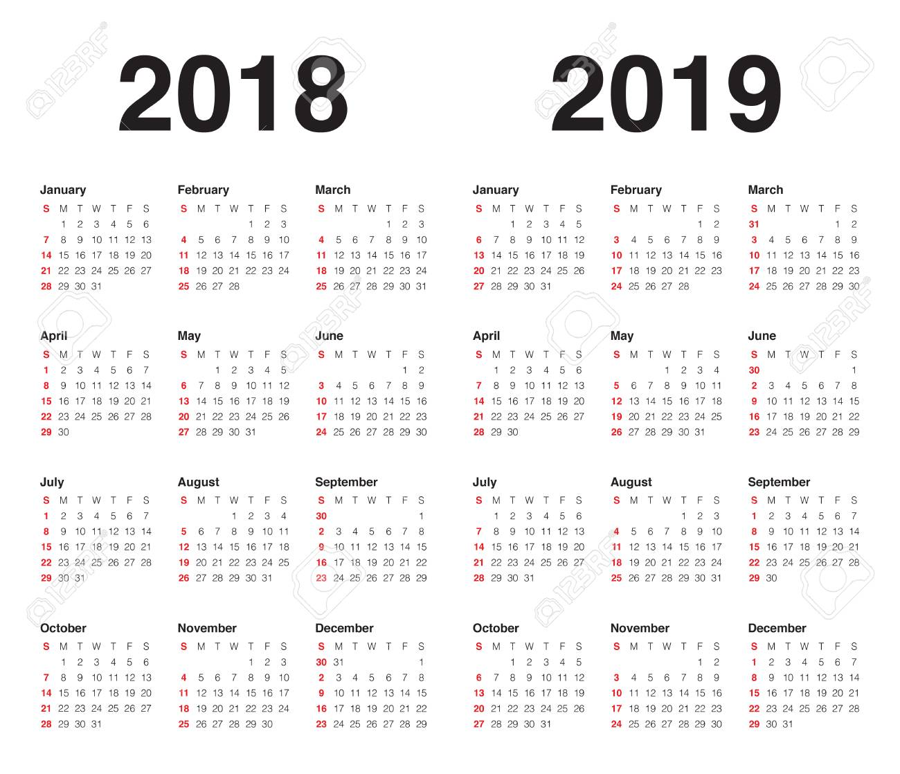 vector year 2018 2019 calendar vector design template simple and clean design