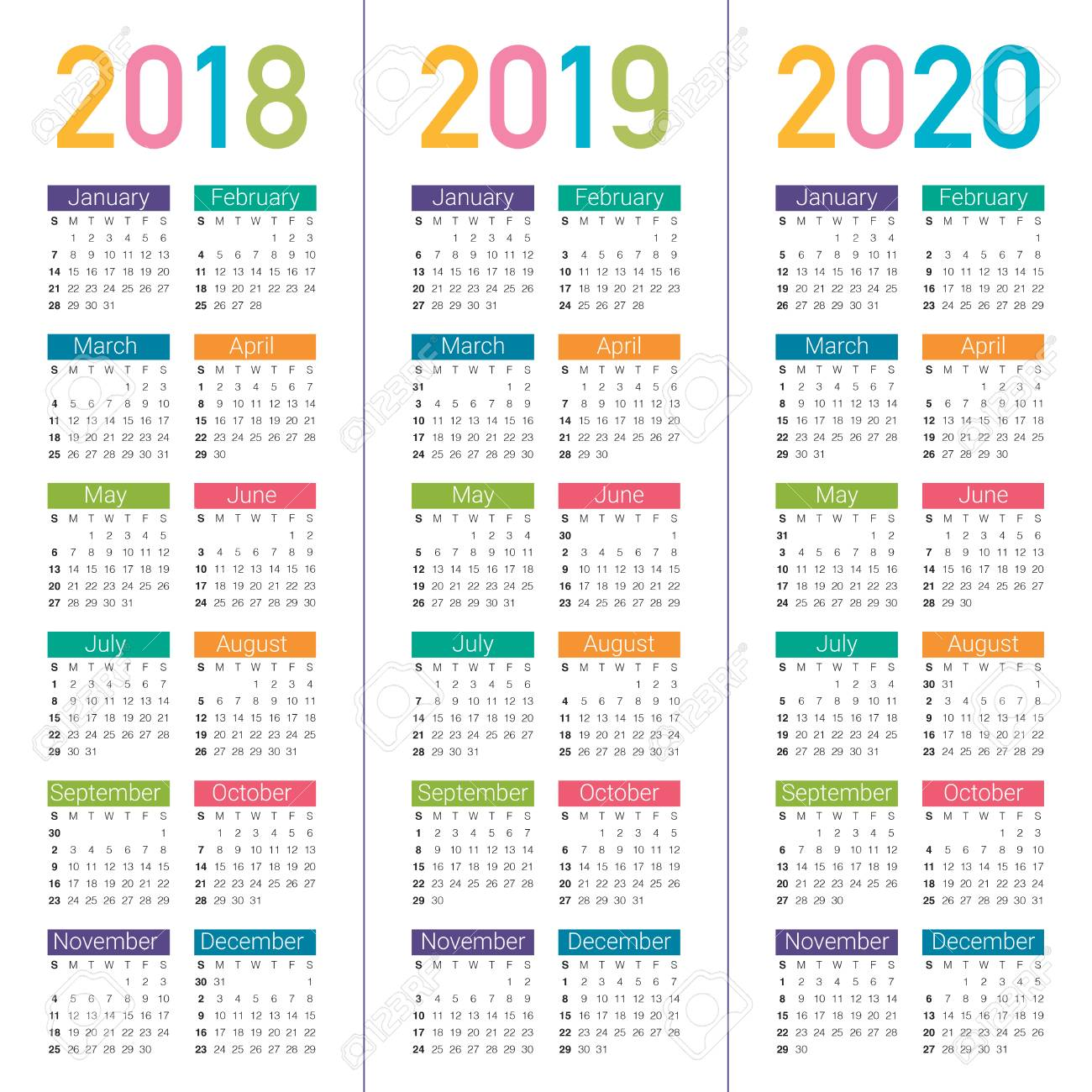 Calendrier Pro A 2020 2019.Year 2018 2019 2020 Calendar Vector Design Template Simple And