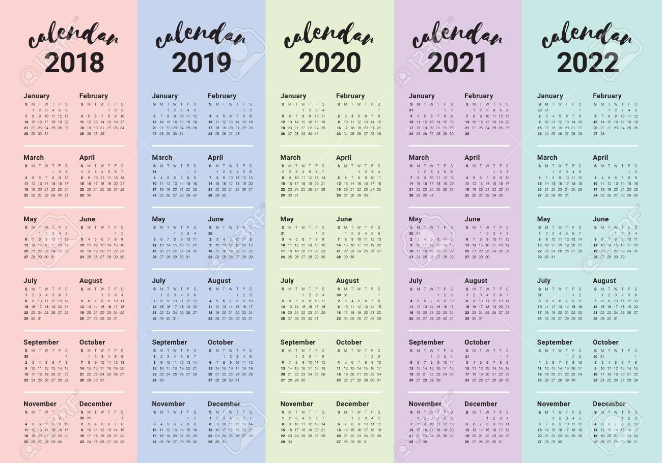 Calendario 2020 Vector Gratis En Espanol.Year 2018 2019 2020 2021 2022 Calendar Vector Design Template