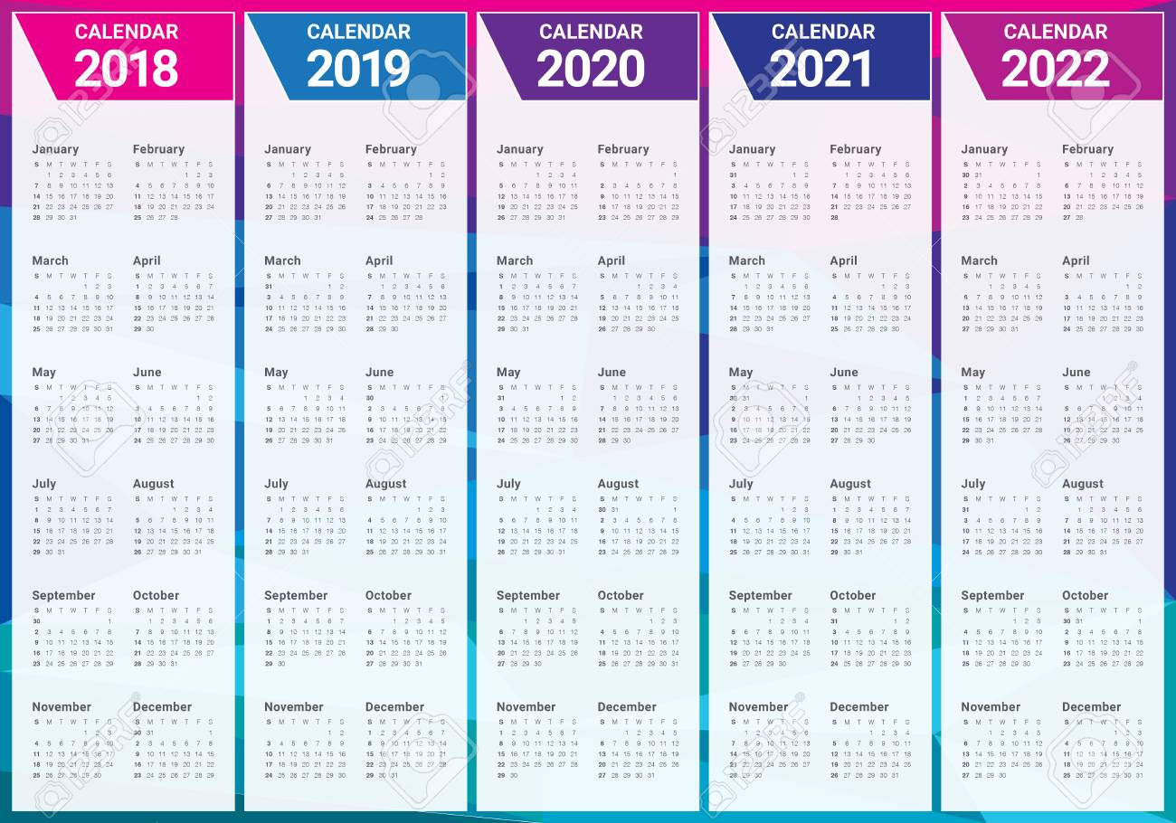 Year 2018 2019 2020 2021 2022 Calendar Vector Design Template