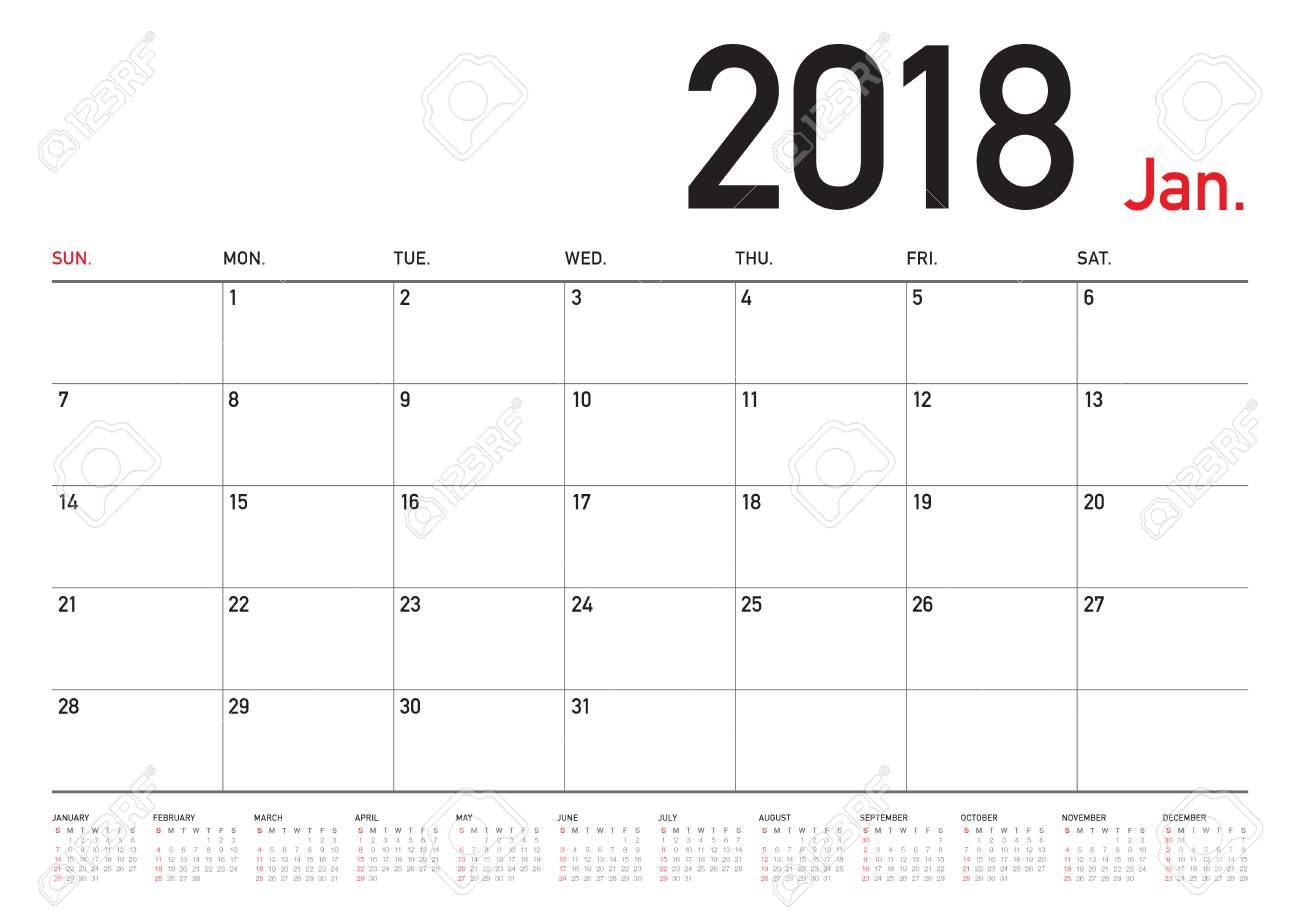january 2018 calendar planner vector illustration simple and clean design stock vector 86277726