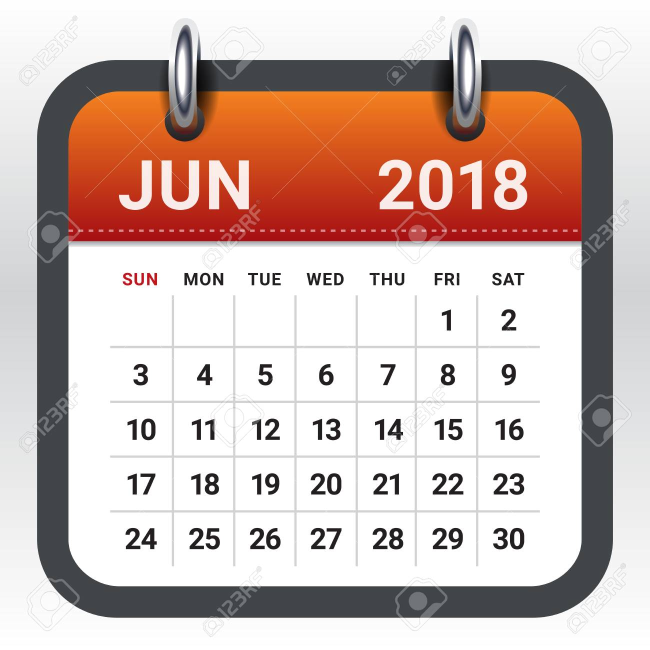 June 2018 Calendar Vector Illustration, Simple And Clean Design ...