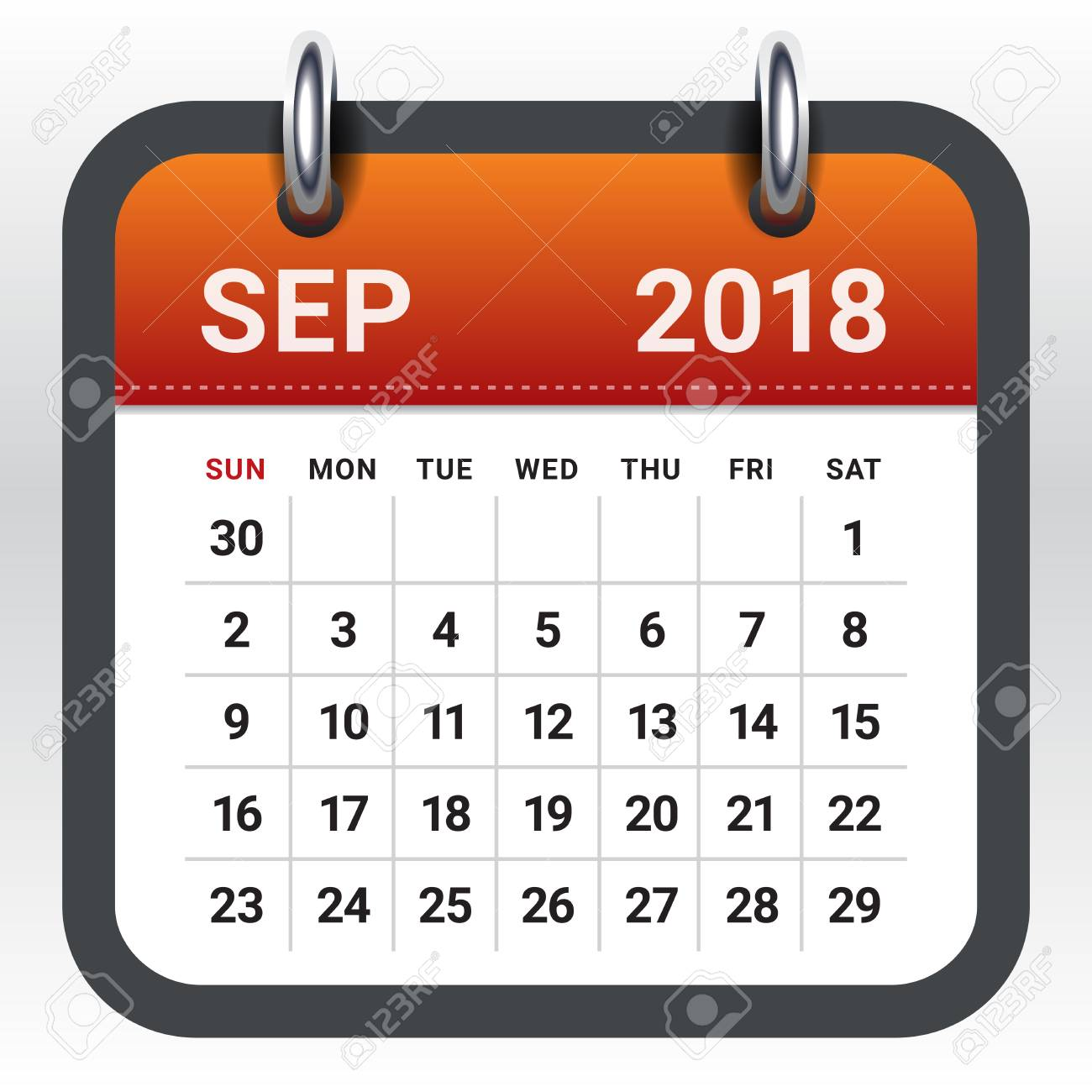 September 2018 calendar vector illustration, simple and clean