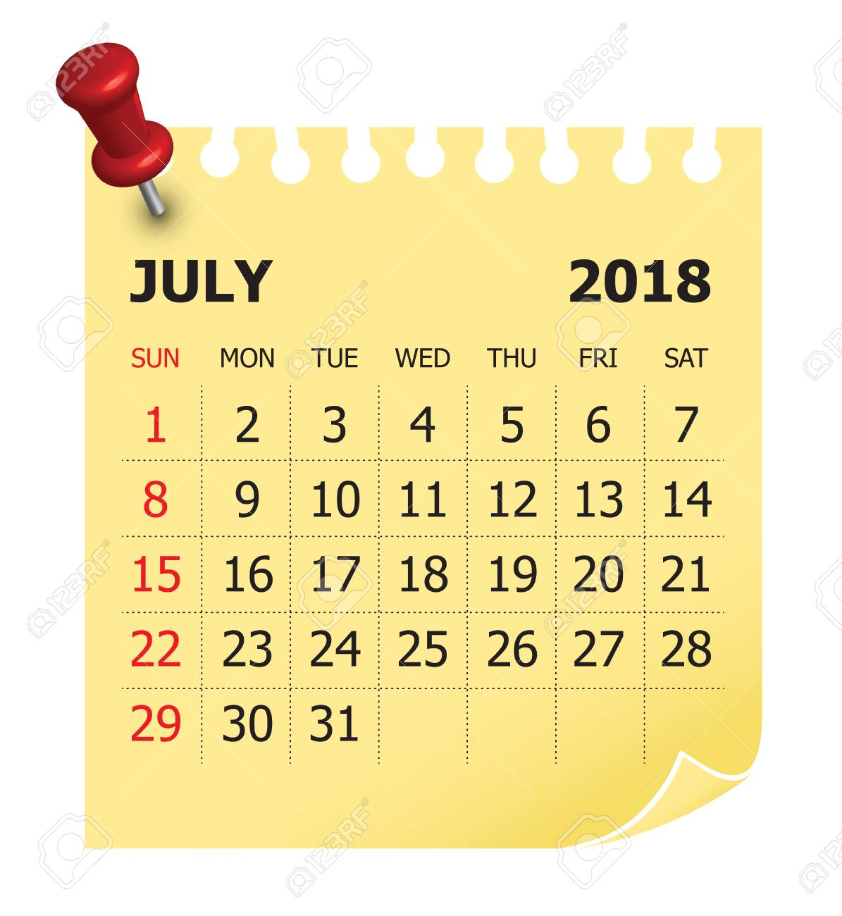 july 2018 calendar vector illustration simple and clean design stock vector 87446136