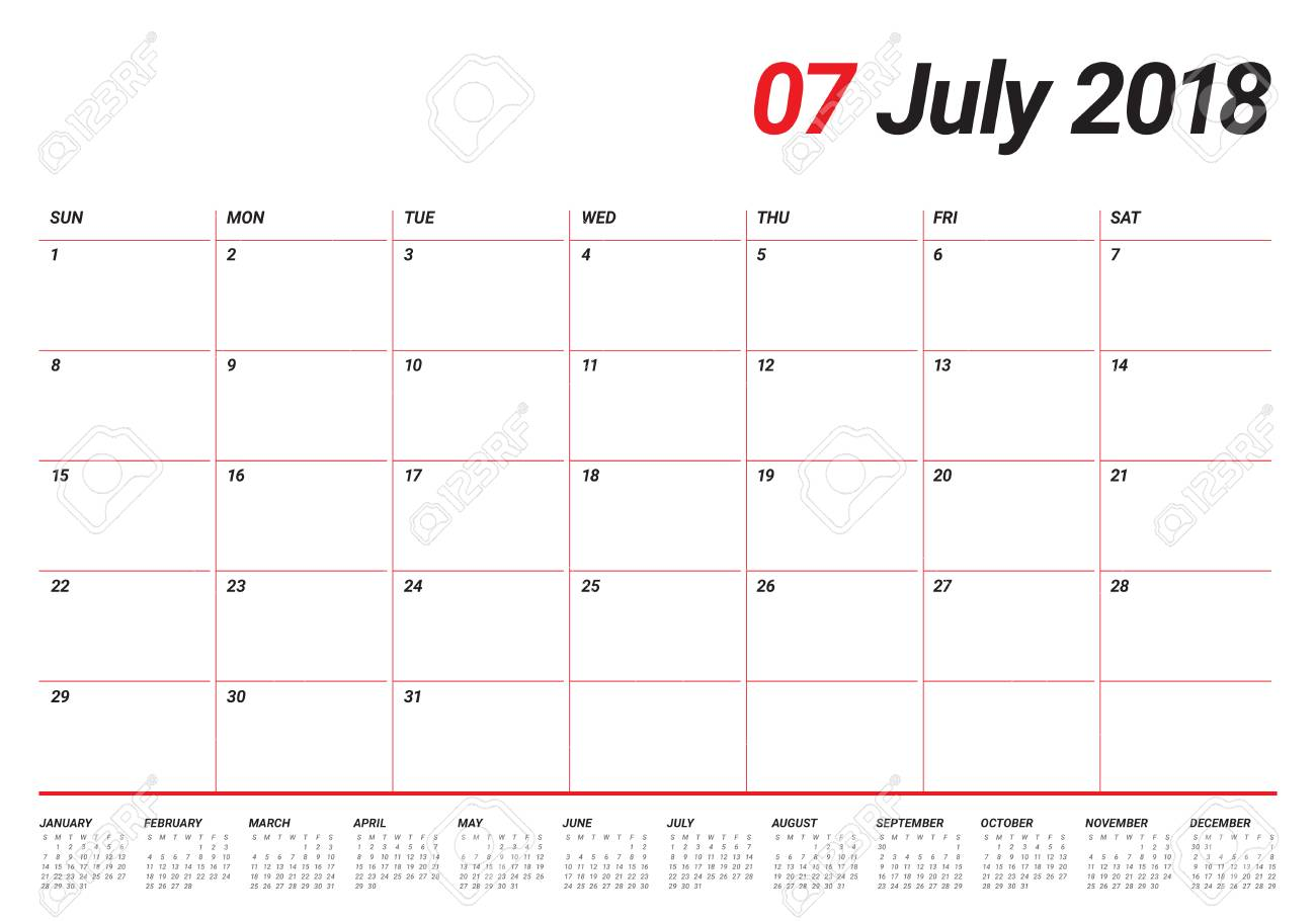 july 2018 calendar planner vector illustration simple and clean design stock vector 87776440