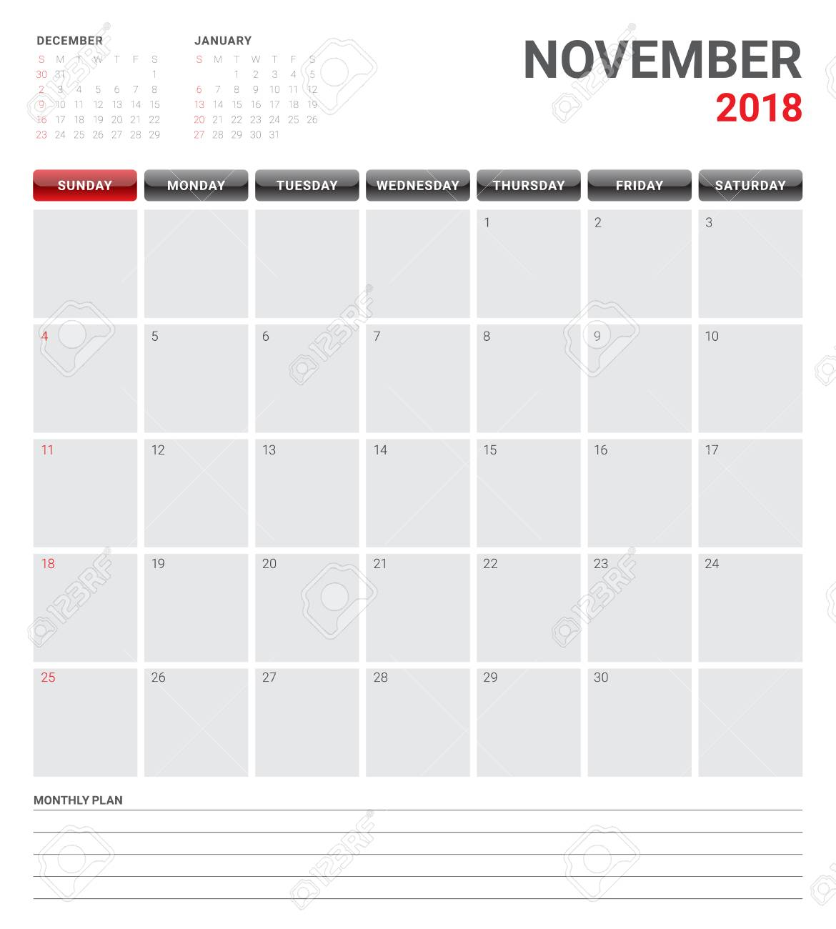 november 2018 planner calendar vector illustration simple and clean design stock vector 89979735