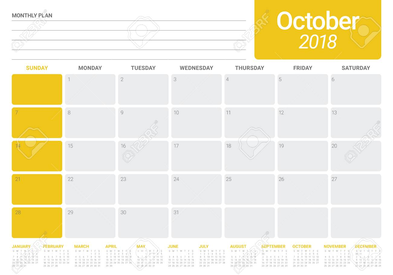 october 2018 planner calendar vector illustration simple and clean design stock vector 90460087