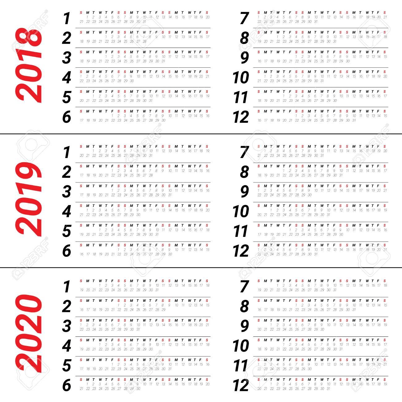 Ano 2020 Calendario.Ano 2018 2019 2020 Calendario Simple Y Plantilla De Diseno Limpio
