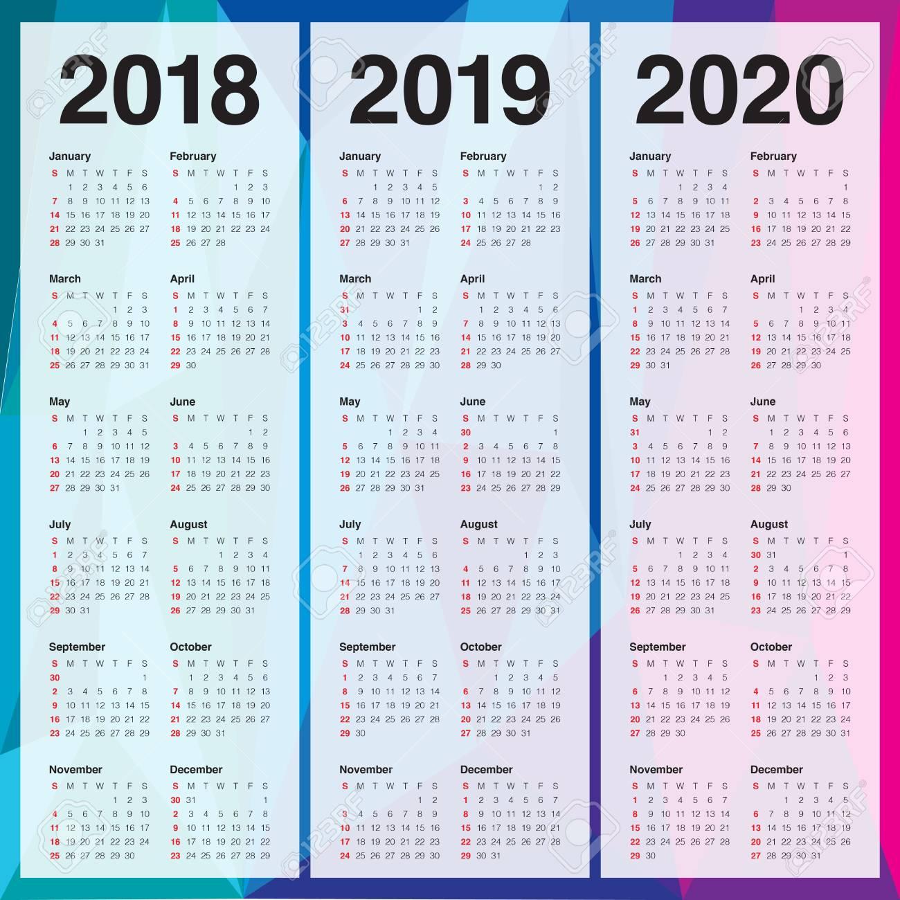 Ano 2020 Calendario.Ano 2018 2019 Y 2020 Calendario Vector Plantilla De Diseno Diseno Simple Y Limpio