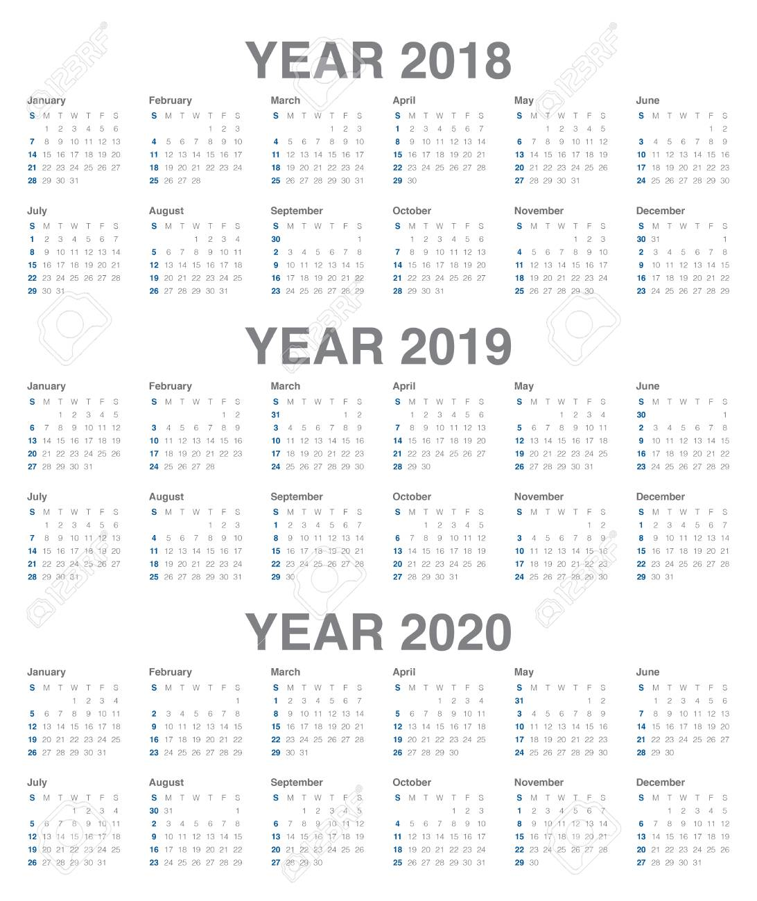 Year 2018 2019 2020 Calendar Simple And Clean Design Template