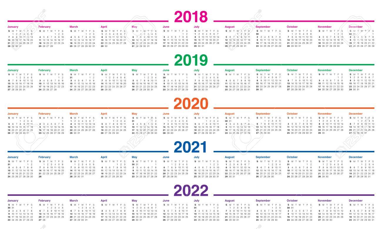 Calendrier 2018:2022 Année 2018 2019 2020 2021 2022 Modèle De Conception De Vecteur De
