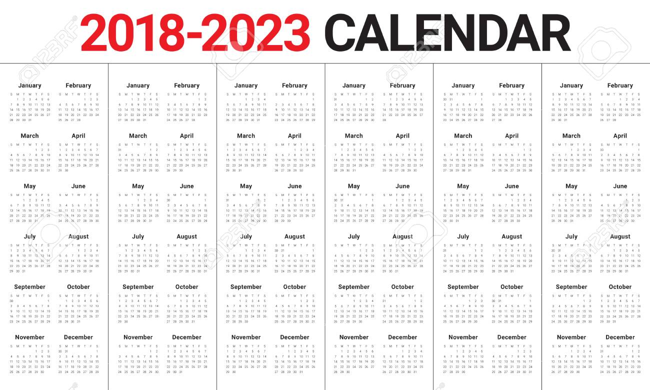 Uf Calendar 2023 To 2022.Year 2018 2019 2020 2021 2022 2023 Calendar Vector Design Template Royalty Free Cliparts Vectors And Stock Illustration Image 93011687
