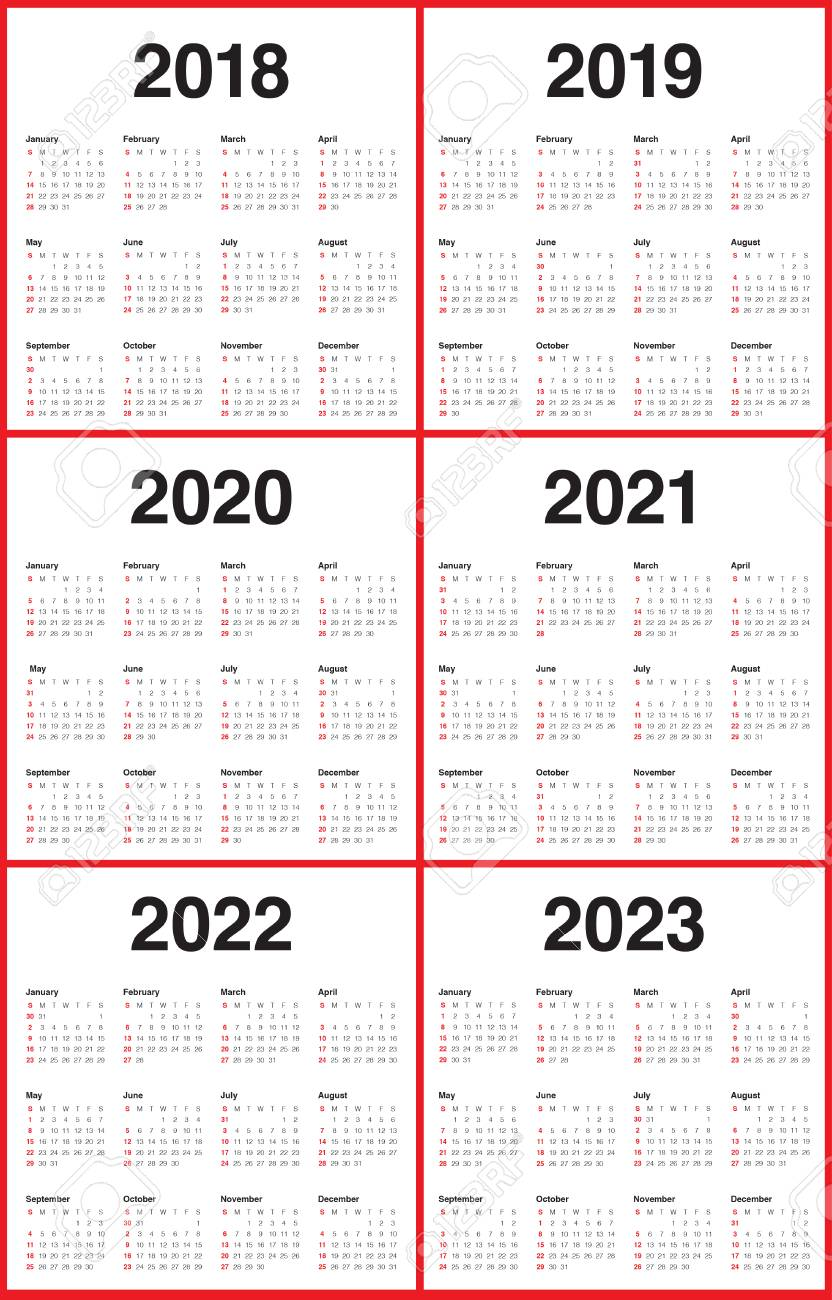 Uf Calendar 2023 To 2022.Year 2018 2019 2020 2021 2022 2023 Calendar Vector Design Template Royalty Free Cliparts Vectors And Stock Illustration Image 93011671