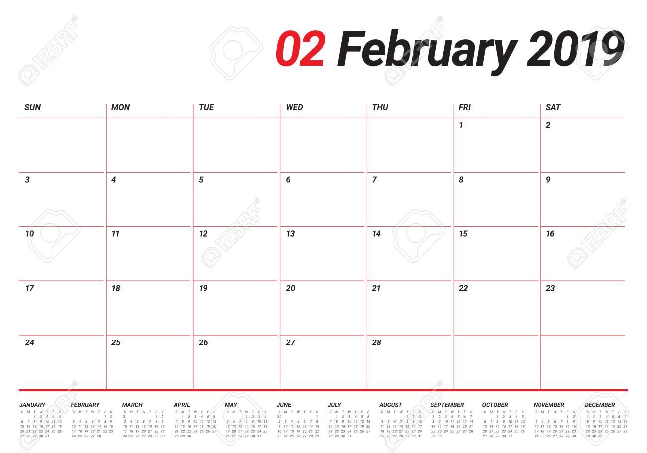 February 2019 Calendar Vector February 2019 Desk Calendar Vector Illustration, Simple And Clean