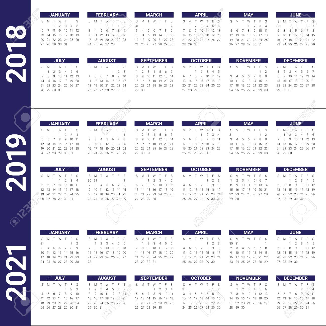 Year 2019 2020 2021 Calendar Vector Design Template Simple And