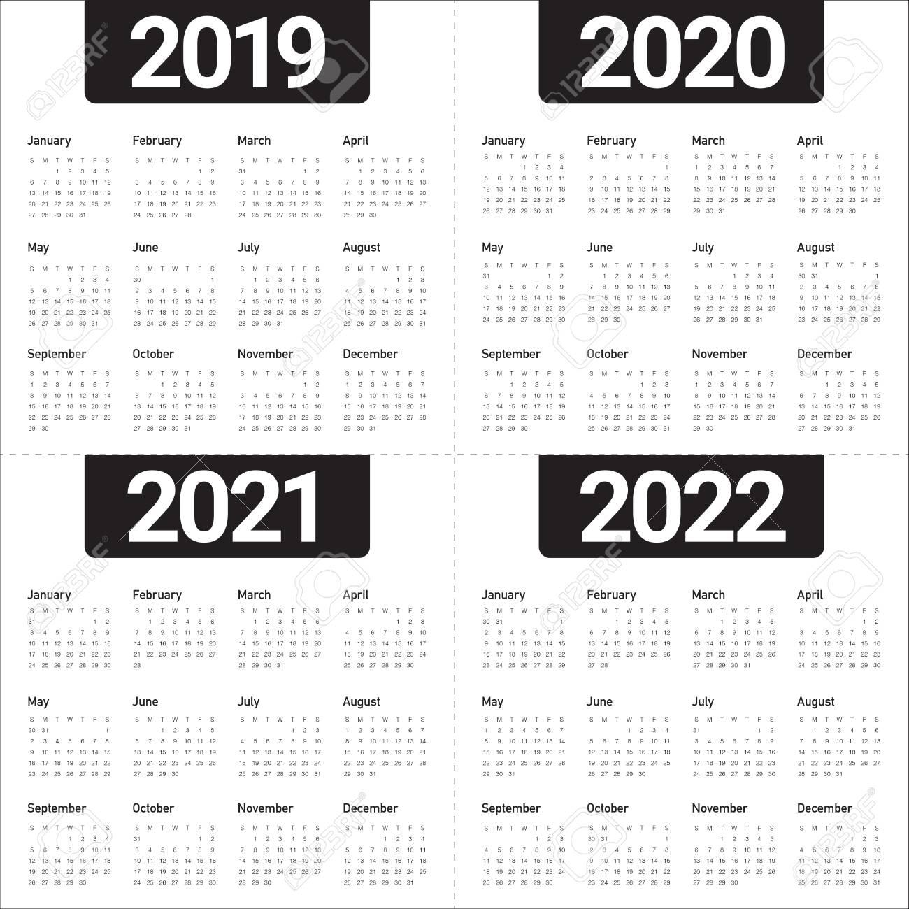 Calendrier Trial 4×4 2022 Year 2019 2020 2021 2022 Calendar Vector Design Template, Simple