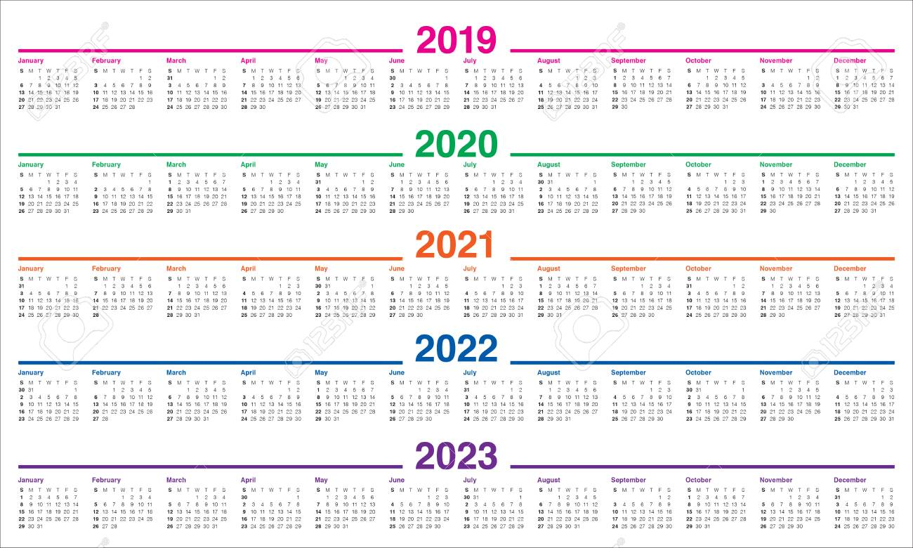 Uf Calendar 2023 To 2022.Year 2019 2020 2021 2022 2023 Calendar Vector Design Template Royalty Free Cliparts Vectors And Stock Illustration Image 110221064