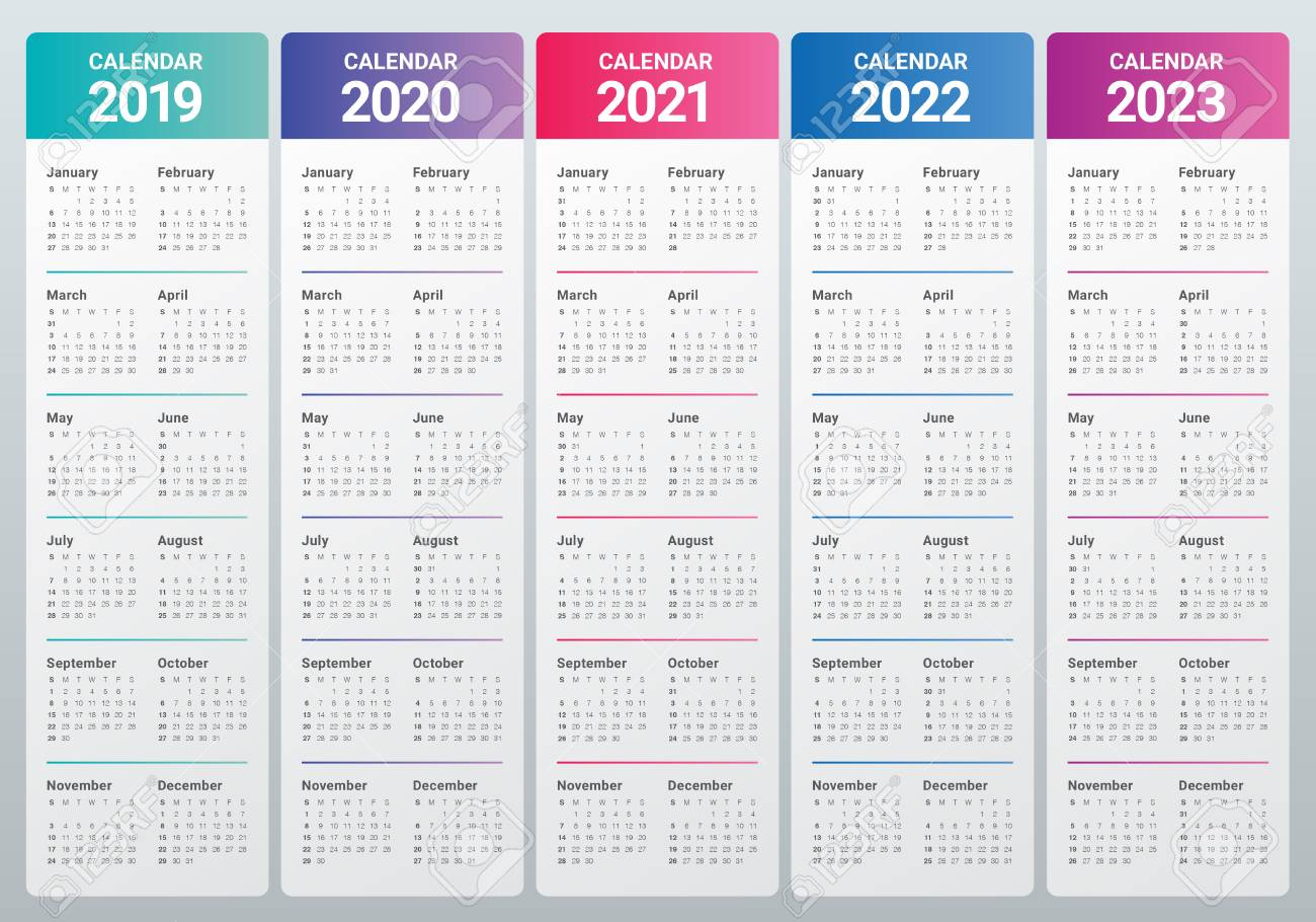 Uf Calendar 2023 To 2022.Year 2019 2020 2021 2022 2023 Calendar Vector Design Template Royalty Free Cliparts Vectors And Stock Illustration Image 108575329
