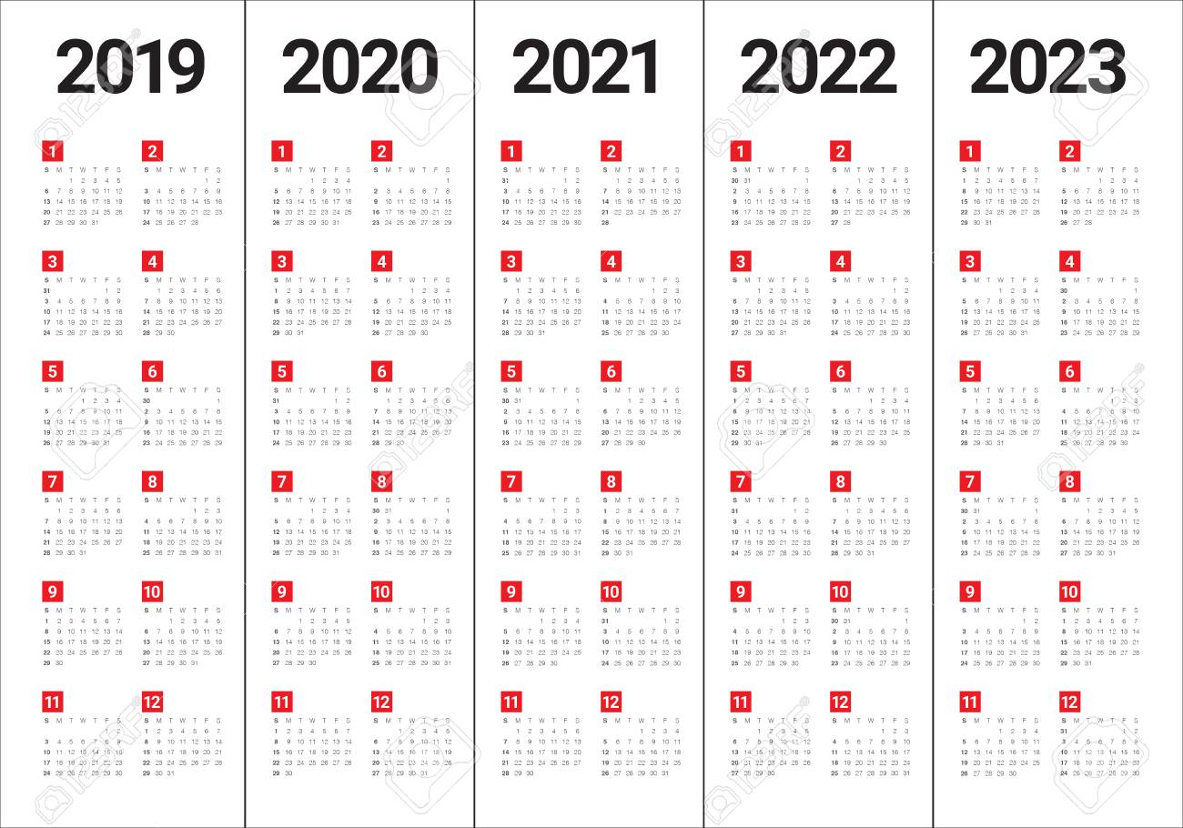Uf Calendar 2023 To 2022.Year 2019 2020 2021 2022 2023 Calendar Vector Design Template Royalty Free Cliparts Vectors And Stock Illustration Image 108575330