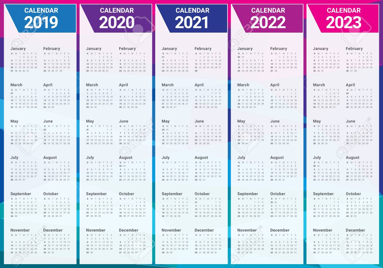 Uf Calendar 2023 To 2022.Year 2019 2020 2021 2022 2023 Calendar Vector Design Template Royalty Free Cliparts Vectors And Stock Illustration Image 108575331