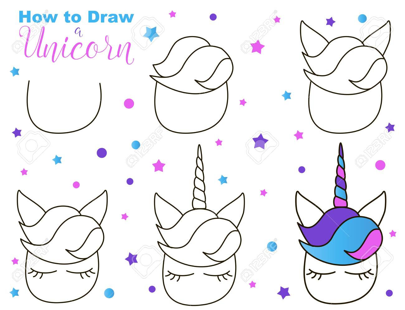 How To Draw Cute Unicorn Easy Steps For Children Activity Kawaii Royalty Free Cliparts Vectors And Stock Illustration Image 126146877