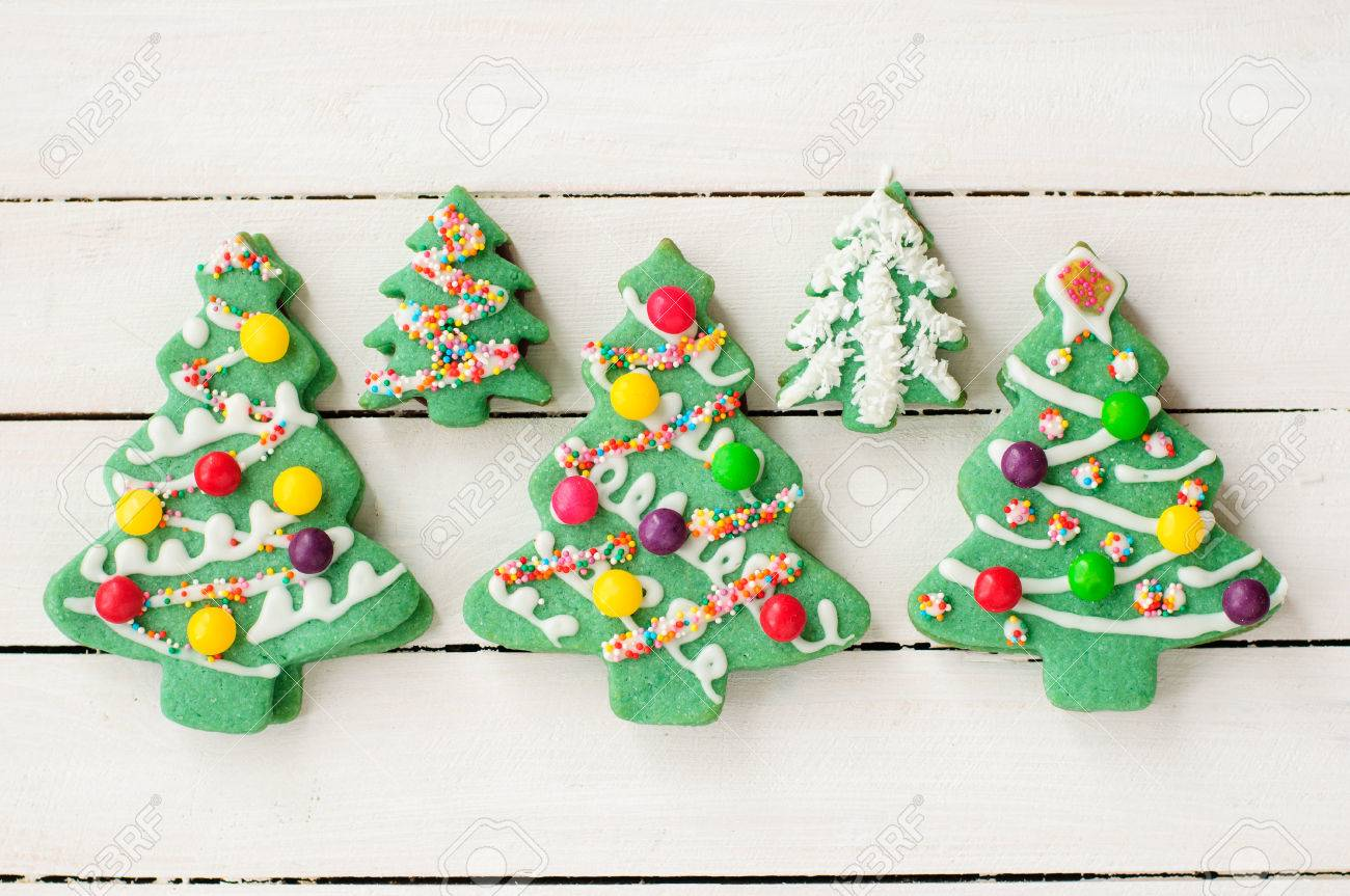 Decorated Christmas Tree Cookies Stock Photo Picture And Royalty