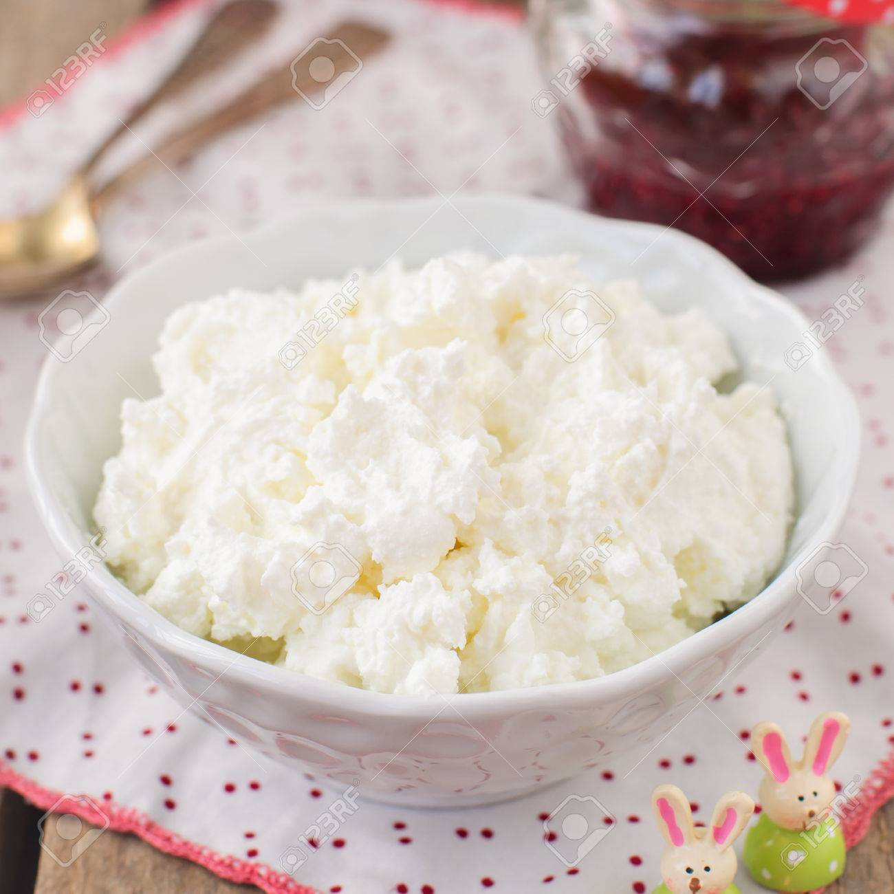 Homemade Cottage Cheese Quark, Cream Cheese, Curd In A White Bowl With  Raspberry Jam