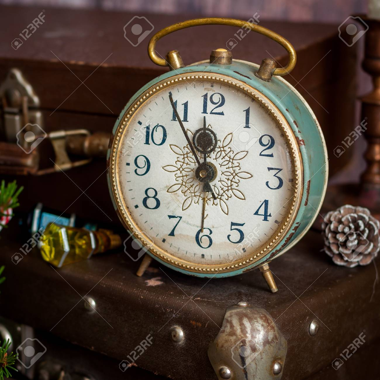 Vintage Retro Style Alarm Clock And Old Fashioned Suitcases Stock
