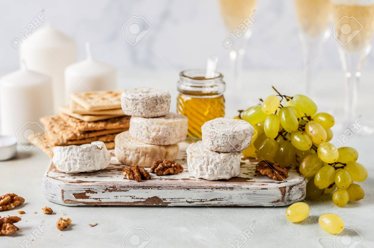 Christmas Cheese Platter.Christmas Cheese Platter Variety Of French Cheeses Green Grapes
