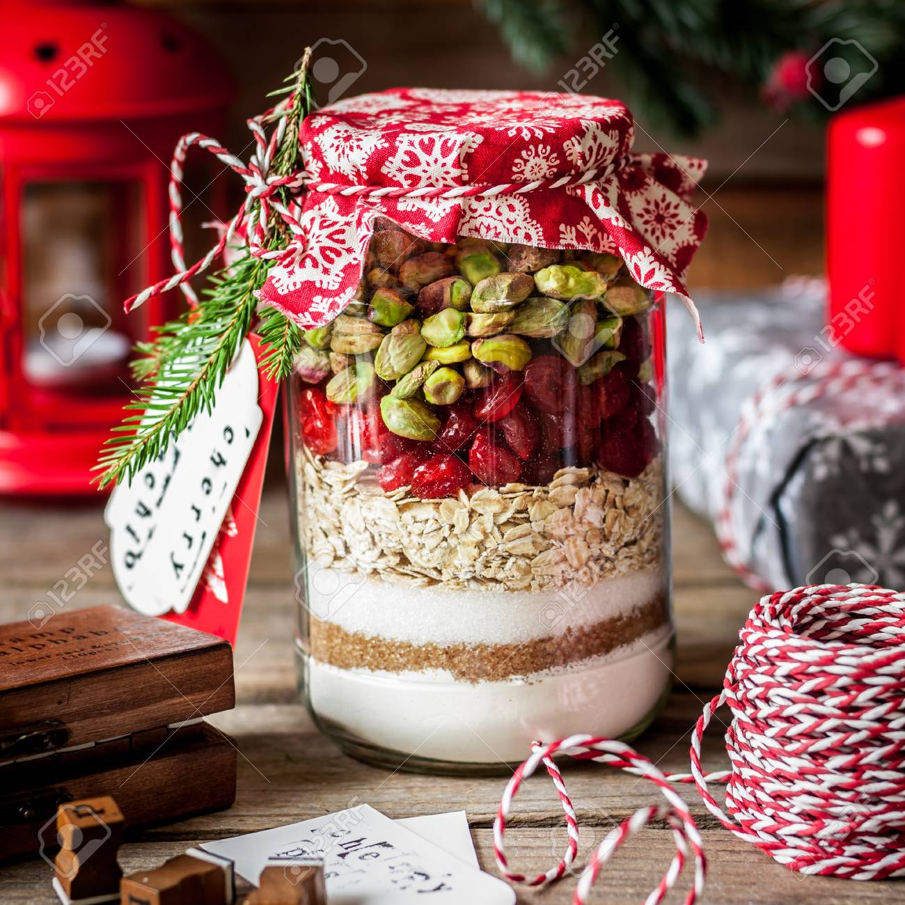 Christmas Cookie Mix In A Jar Layered Flour Brown And Caster