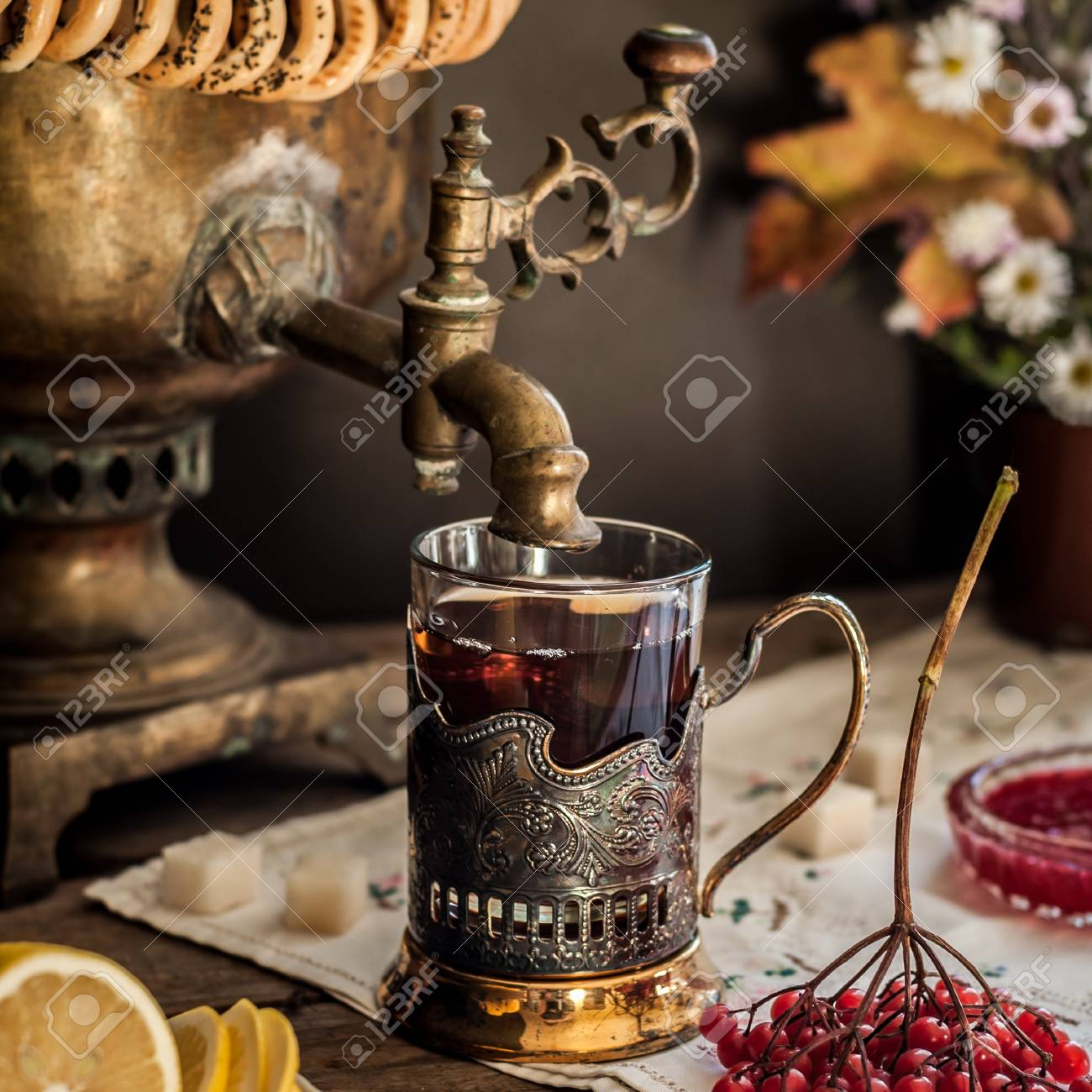 Russian Tea From Samovar A Glass In Glass Holder Black Tea Stock Photo Picture And Royalty Free Image Image 92792537