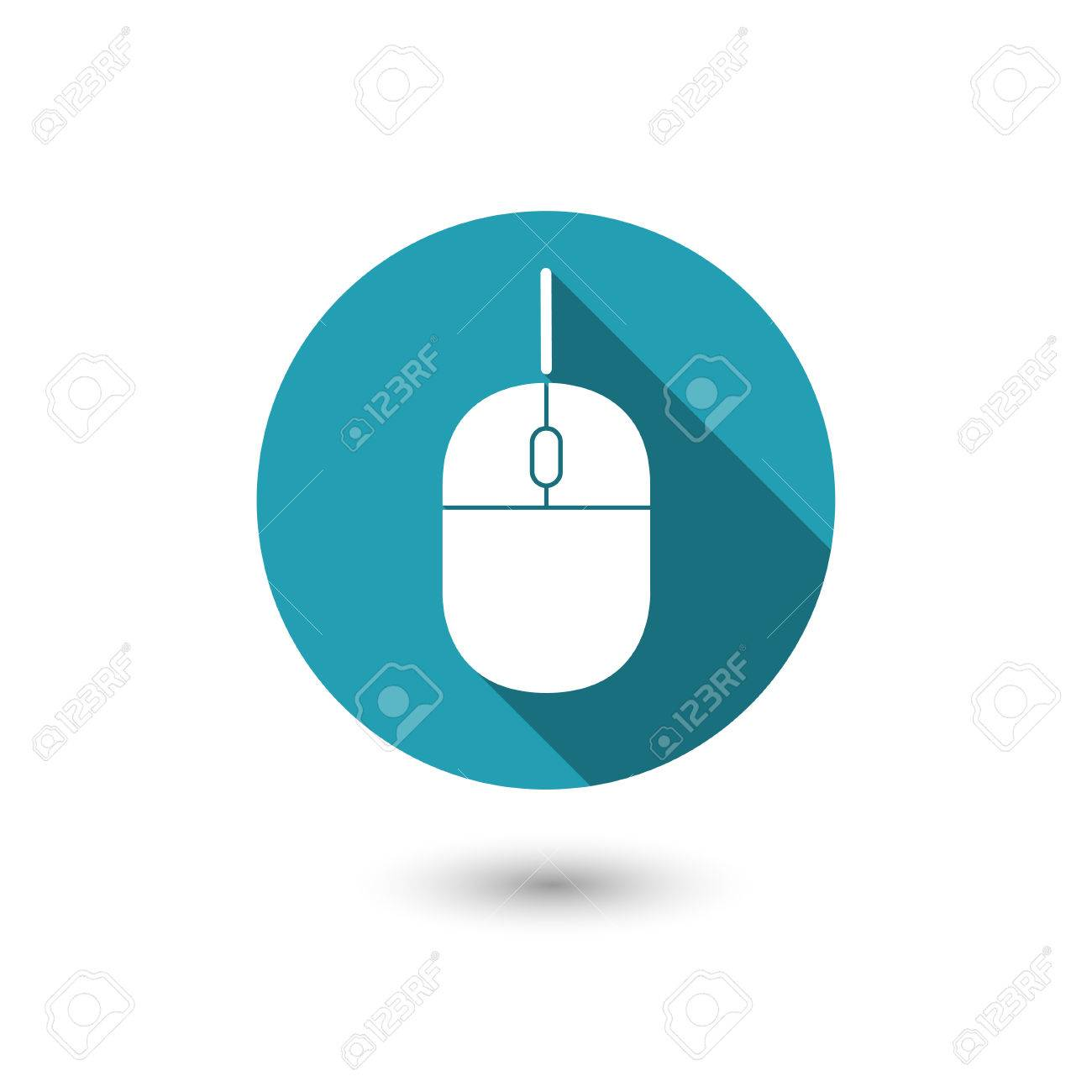 Computer Mouse Icon With Wired Connection.Flat Style Design Royalty ...