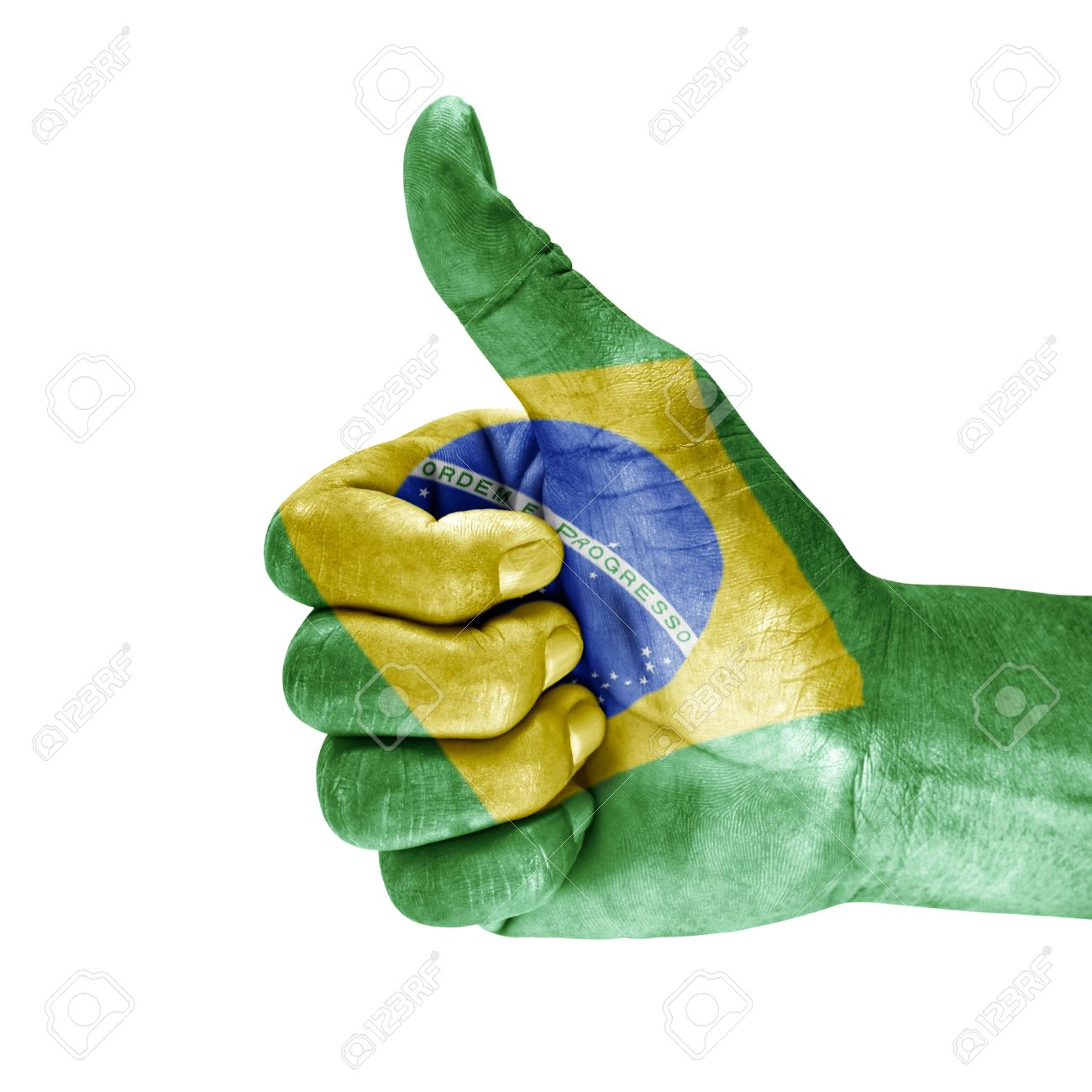 Flag of brazil on thumb up hand isolated on white background. Stock Photo - 15402894