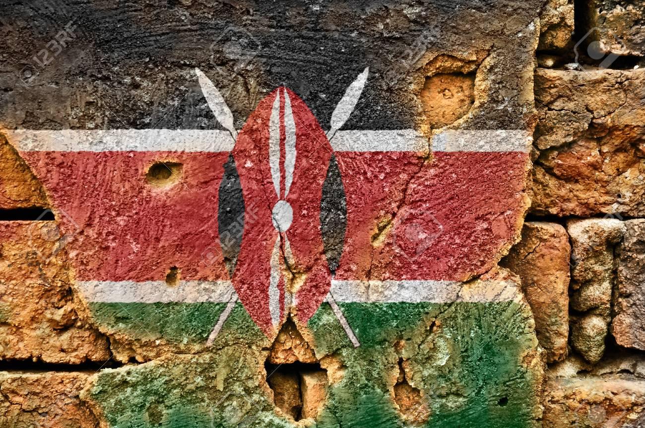 Grunge flag of Kenya on old wall background. Stock Photo - 17794824