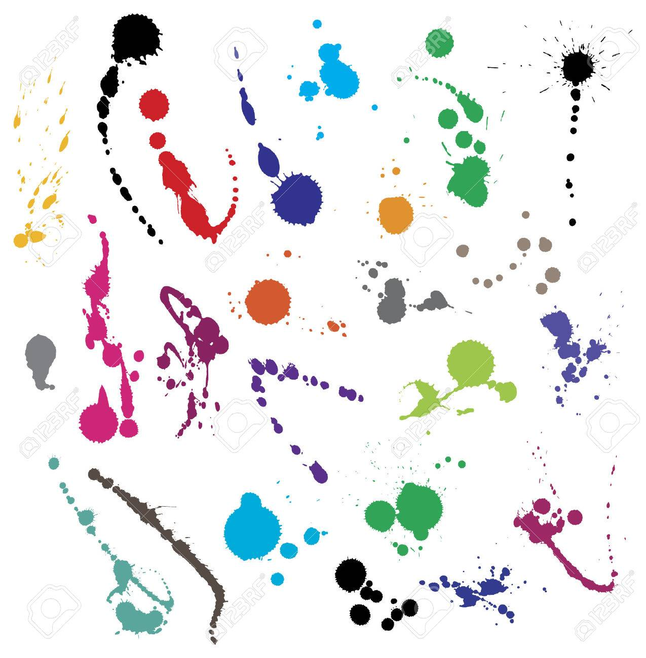 Collection of 24 different ink splatter symbol vector illustrations. Color coded and highly detailed. - 2376048