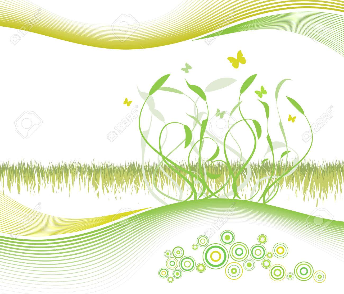 Vector illustration of a summer/spring floral and lined art background with cheery circles and copy space. Stock Vector - 2639954