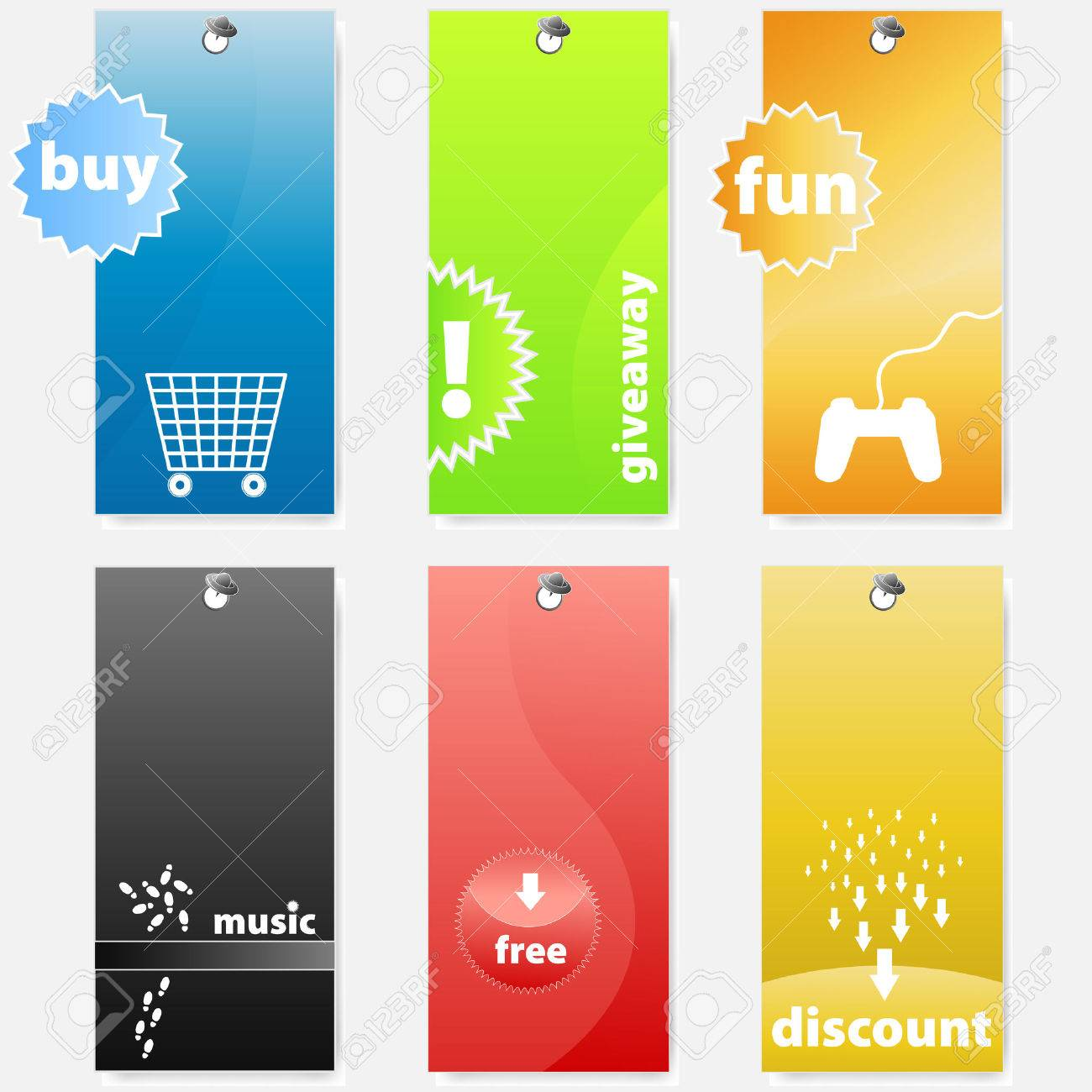 Vector illustrations of differently colored glossy shopping and music related web tags/labels. Stock Vector - 2639956
