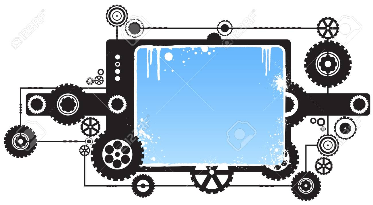 Vector illustration of a modern industrial cog design element with copy space in the middle (blank). Stock Vector - 2639955