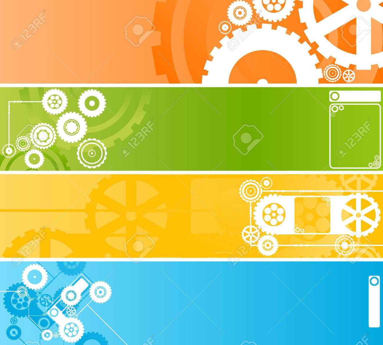 Vector illustration of four different technological and industrial web banners or backgrounds. Highly detailed in various colors. Stock Vector - 2651378