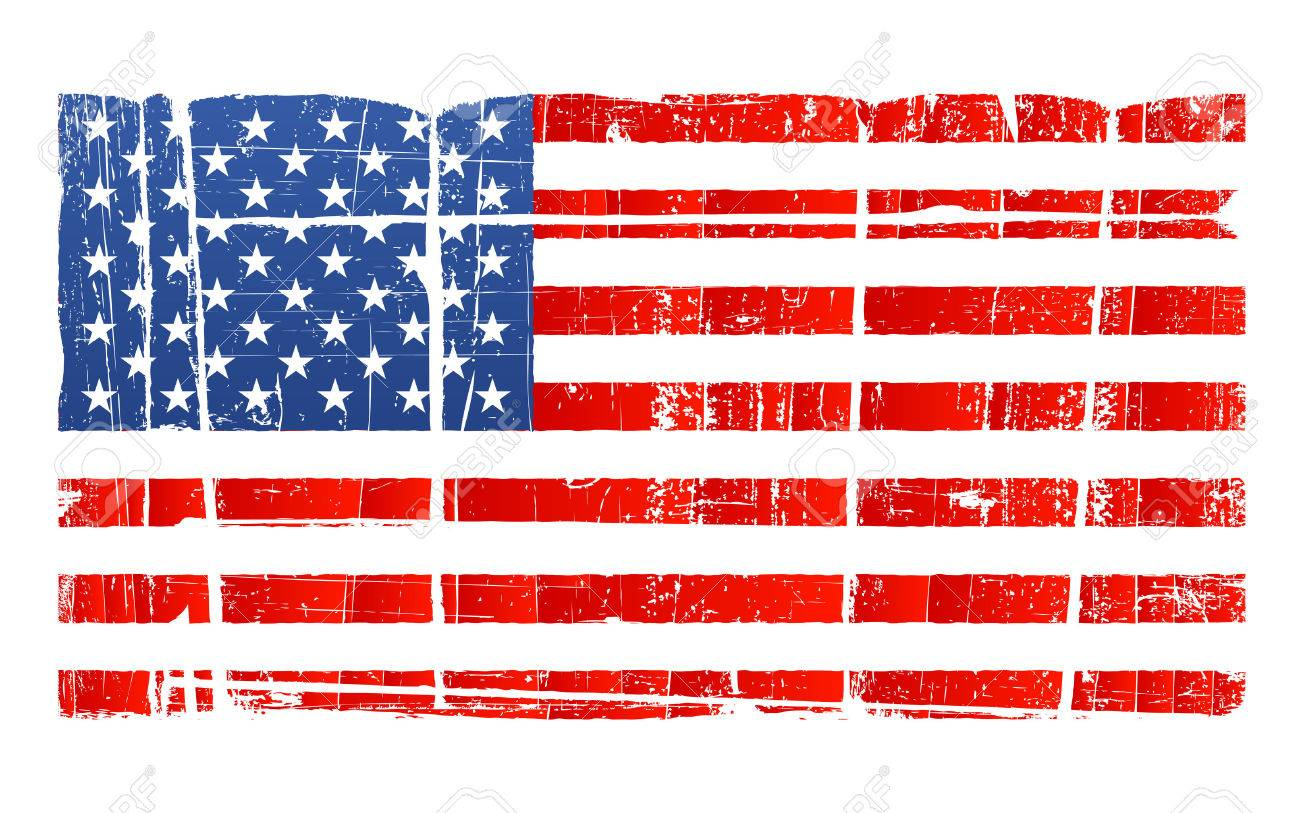 Vector illustration of the American flag in accurate proportions with a grungy distressed look. Separated on layer. Detailed dirt. Stock Vector - 2666611
