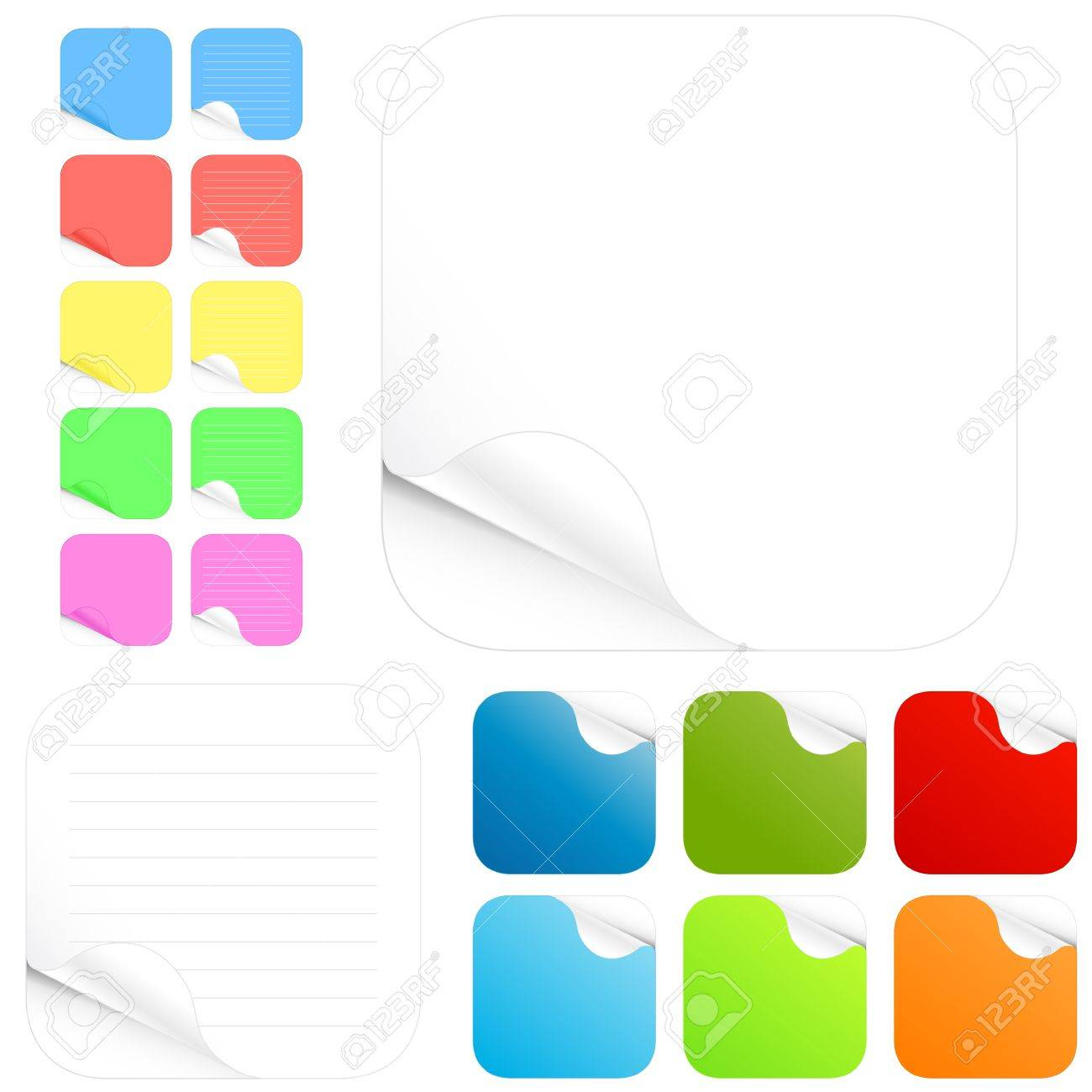 Vector illustration of paper stickers and pads in different colors with shadowed curl. Two main versions with lines and without in different colors. Rounded edges. Stock Vector - 2684640