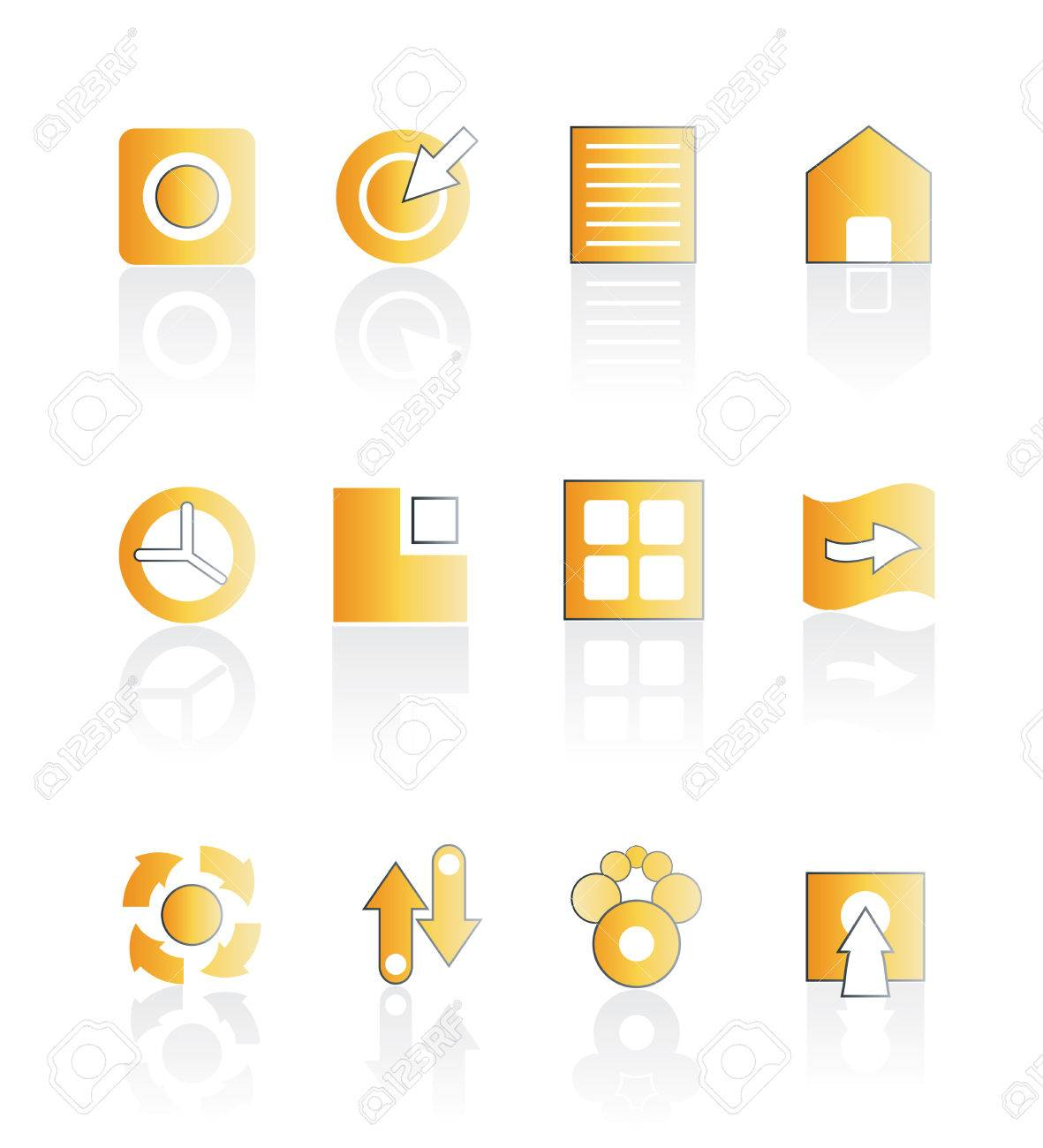 Vector illustration of asorted web icons in orange color with shadow. Stylized and modern. Easily editable. Stock Vector - 2901317