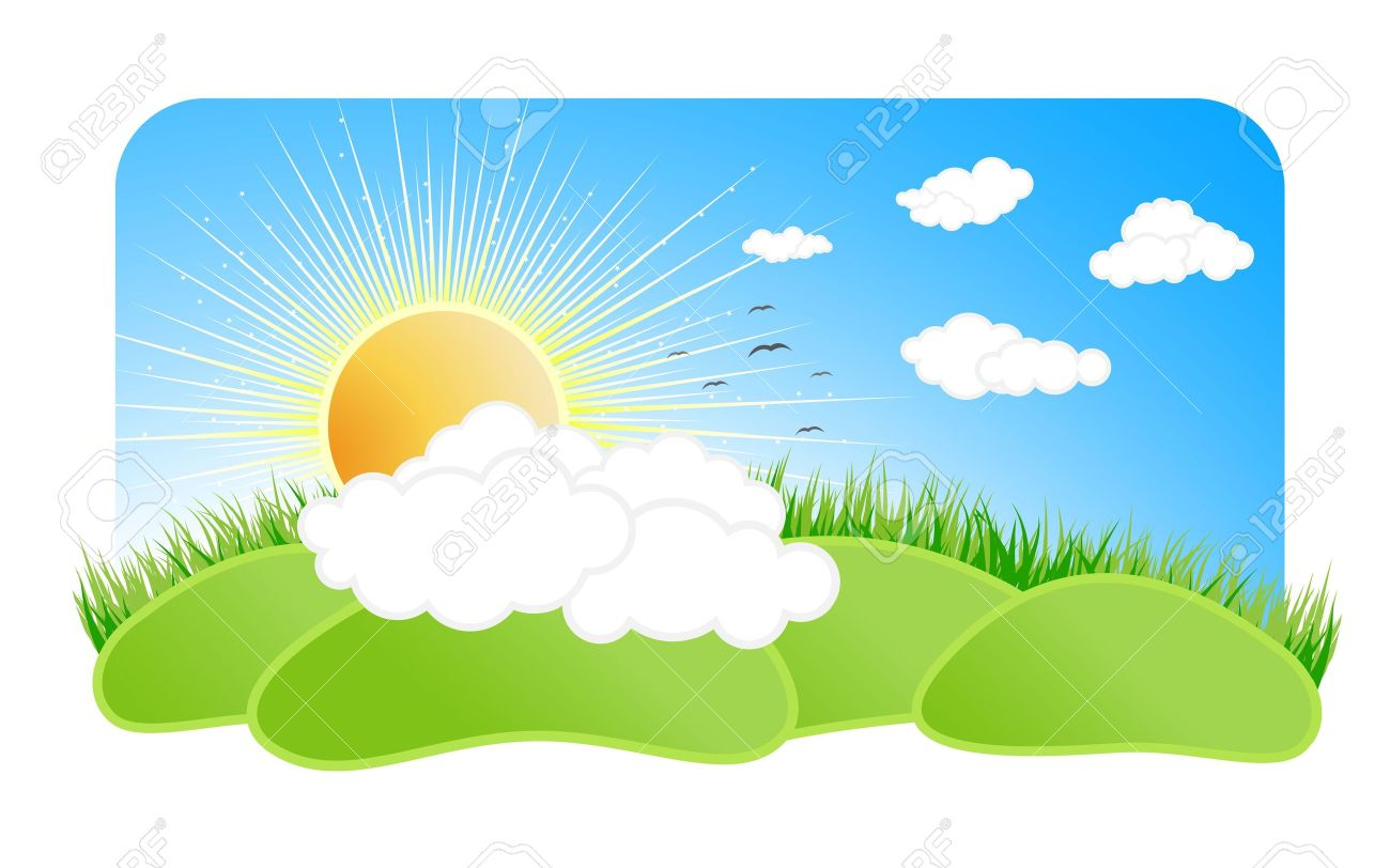 Vector illustration of a beautiful sunny nature landscape with a blue sky clouds, birds, green grass, sun with rays and green pastures. Stock Illustration - 3057486