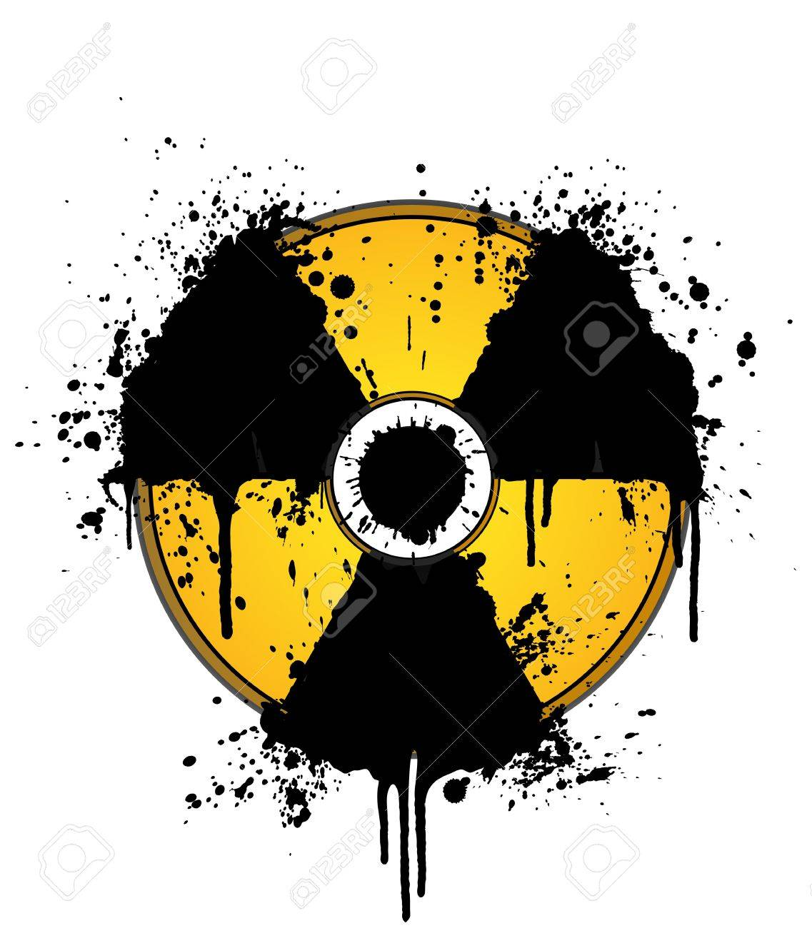 Vector illustration of a splatter ink design element in the shape of the radioactive symbol. On separate layers. Stock Illustration - 3117364