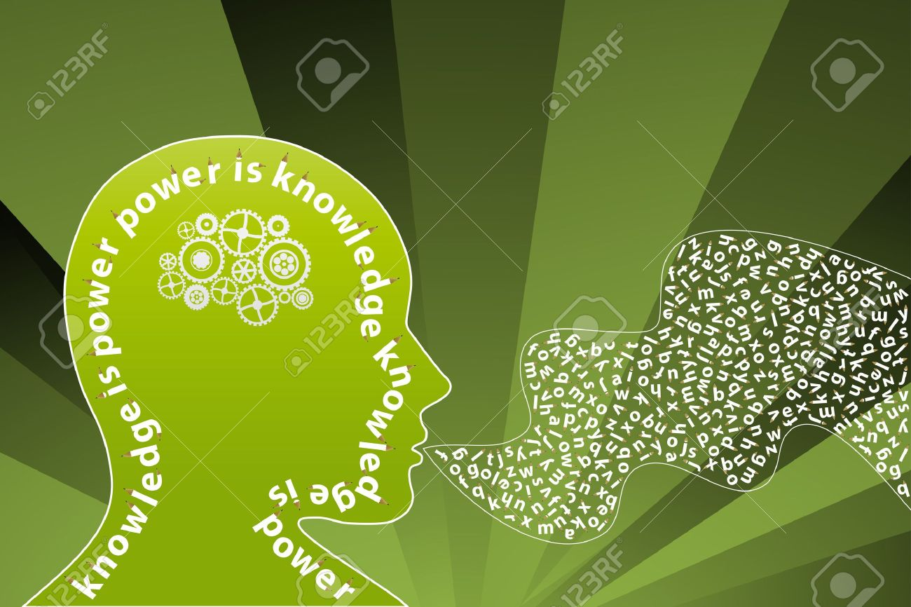 Vector illustration of a creative thinking mind background with alphabet letters coming from the mouth and gearwork moving inside the head. Knowledge concept. Stock Illustration - 3256879